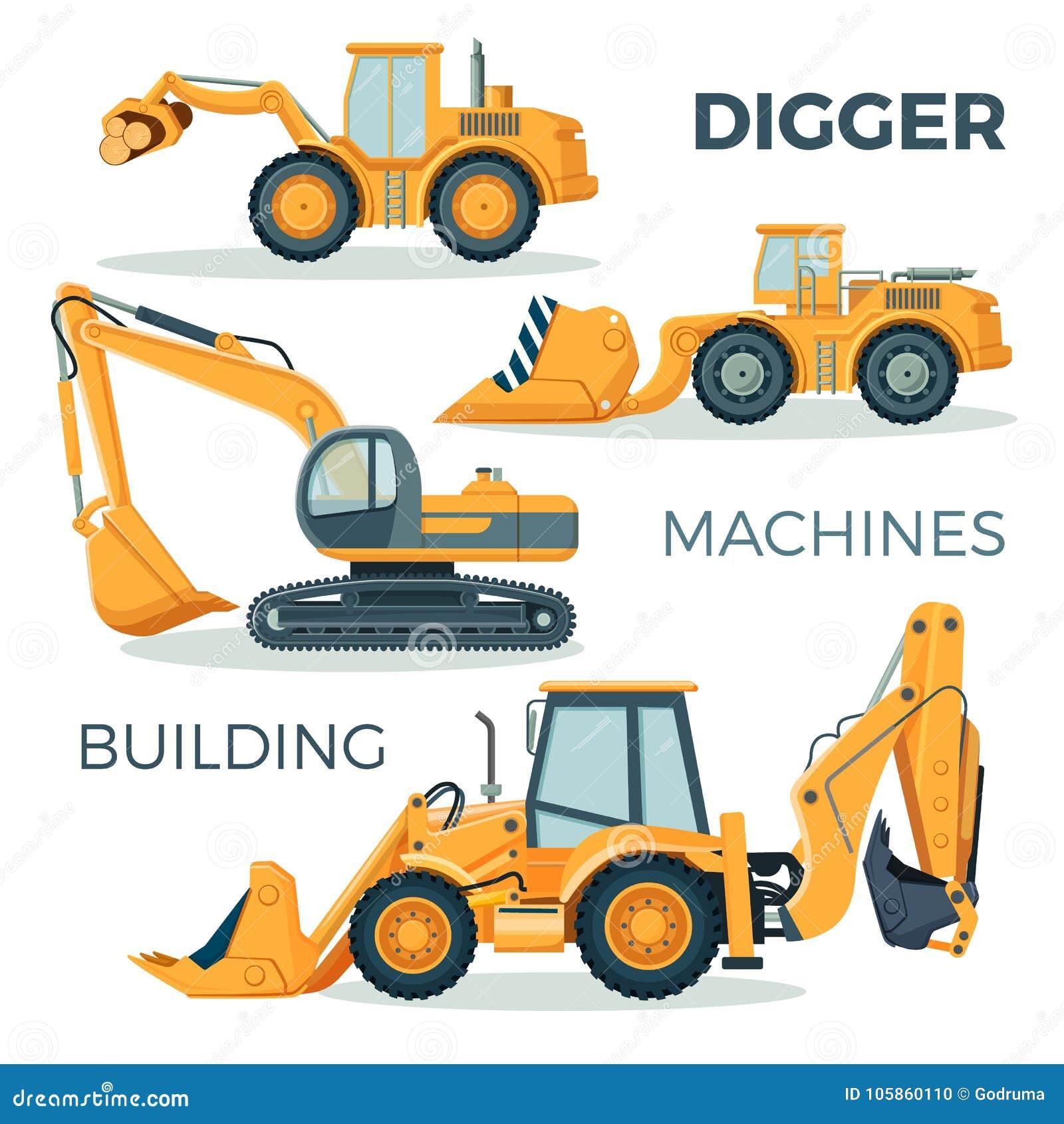 Escavador E Maquinas Para Construir A Ilustracao Isolada Dos