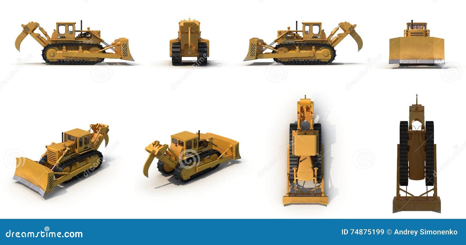 Escavadora resistente isolada na ilustração 3D branca