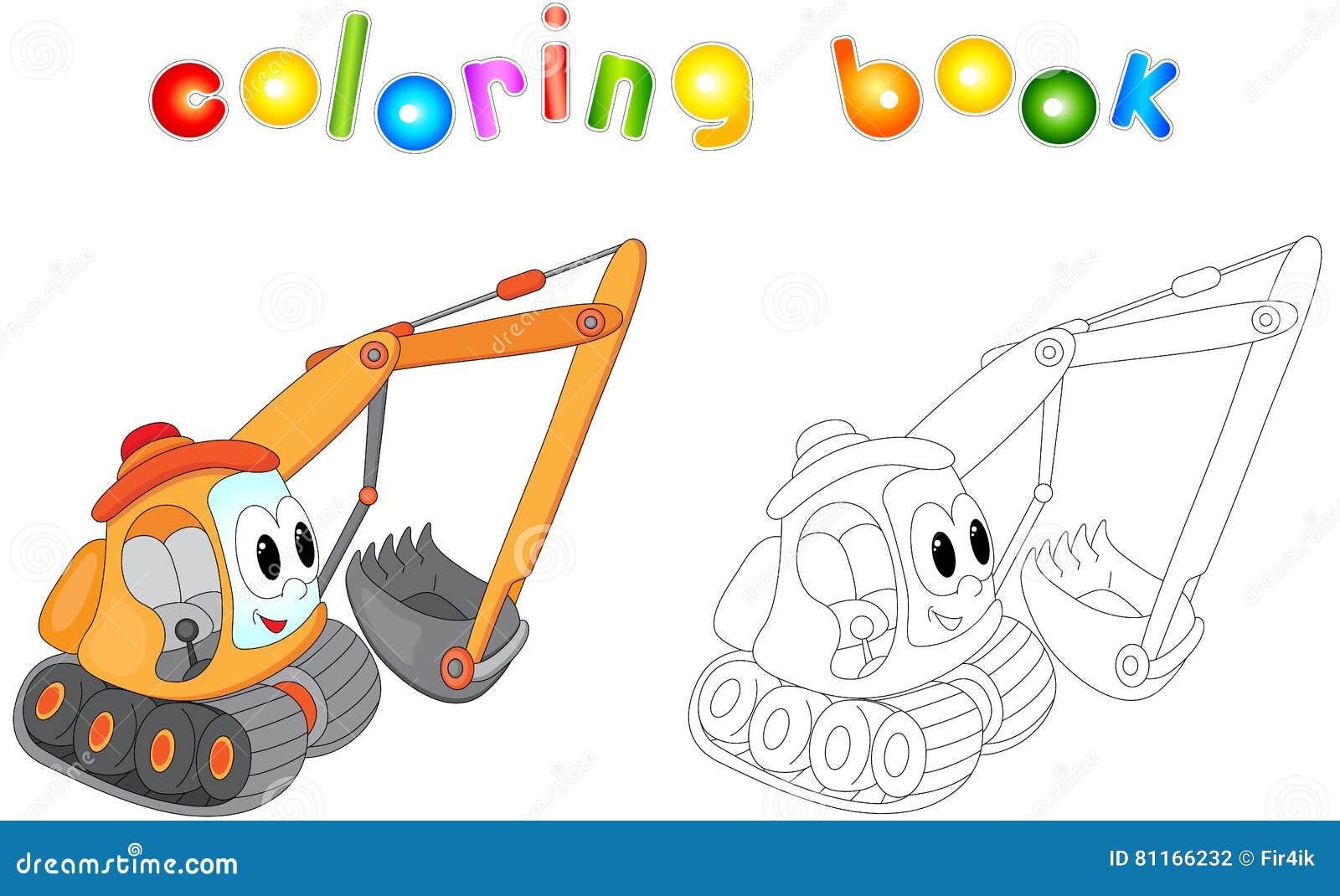 Disegni Da Colorare Per Bambini Escavatori.Escavatore Del Fumetto Libro Da Colorare Per I Bambini