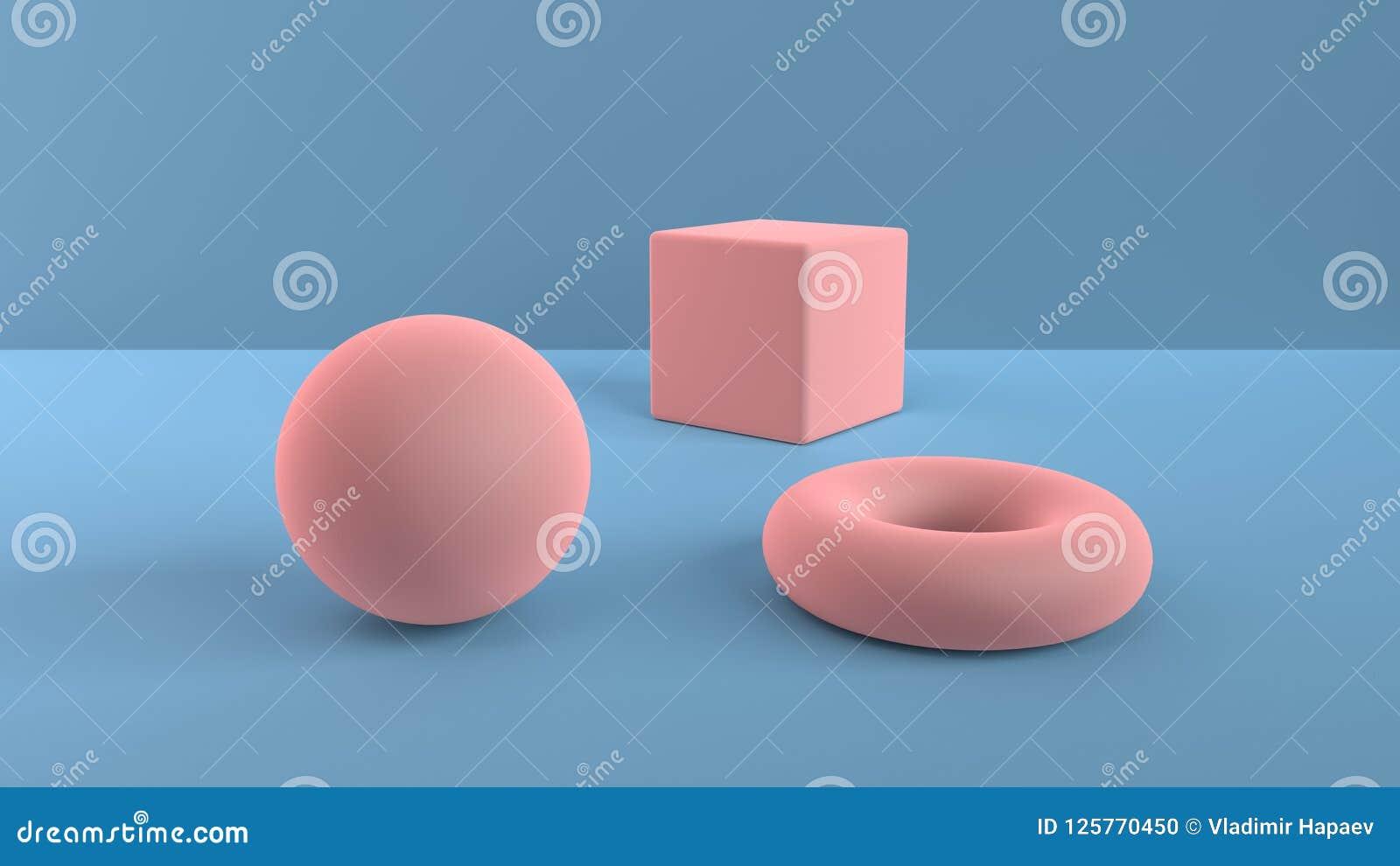 Escena abstracta de formas geométricas Bola, cubo y toro rosas claros Luz ambiente suave en una escena 3D con un fondo del azul 3