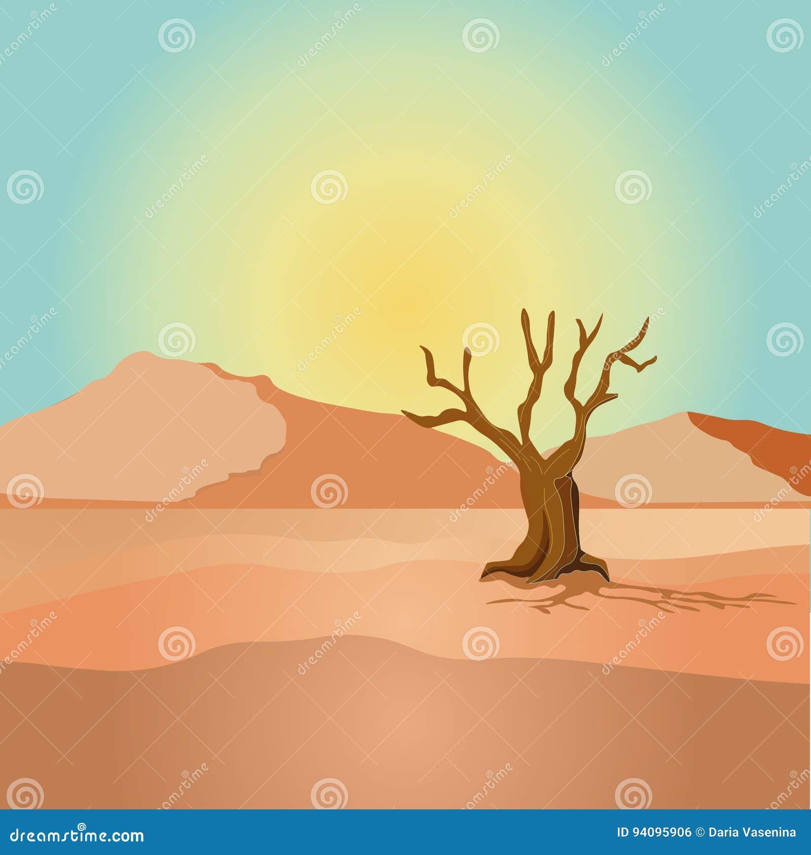 Escena con el árbol secado en el ejemplo del campo del desierto
