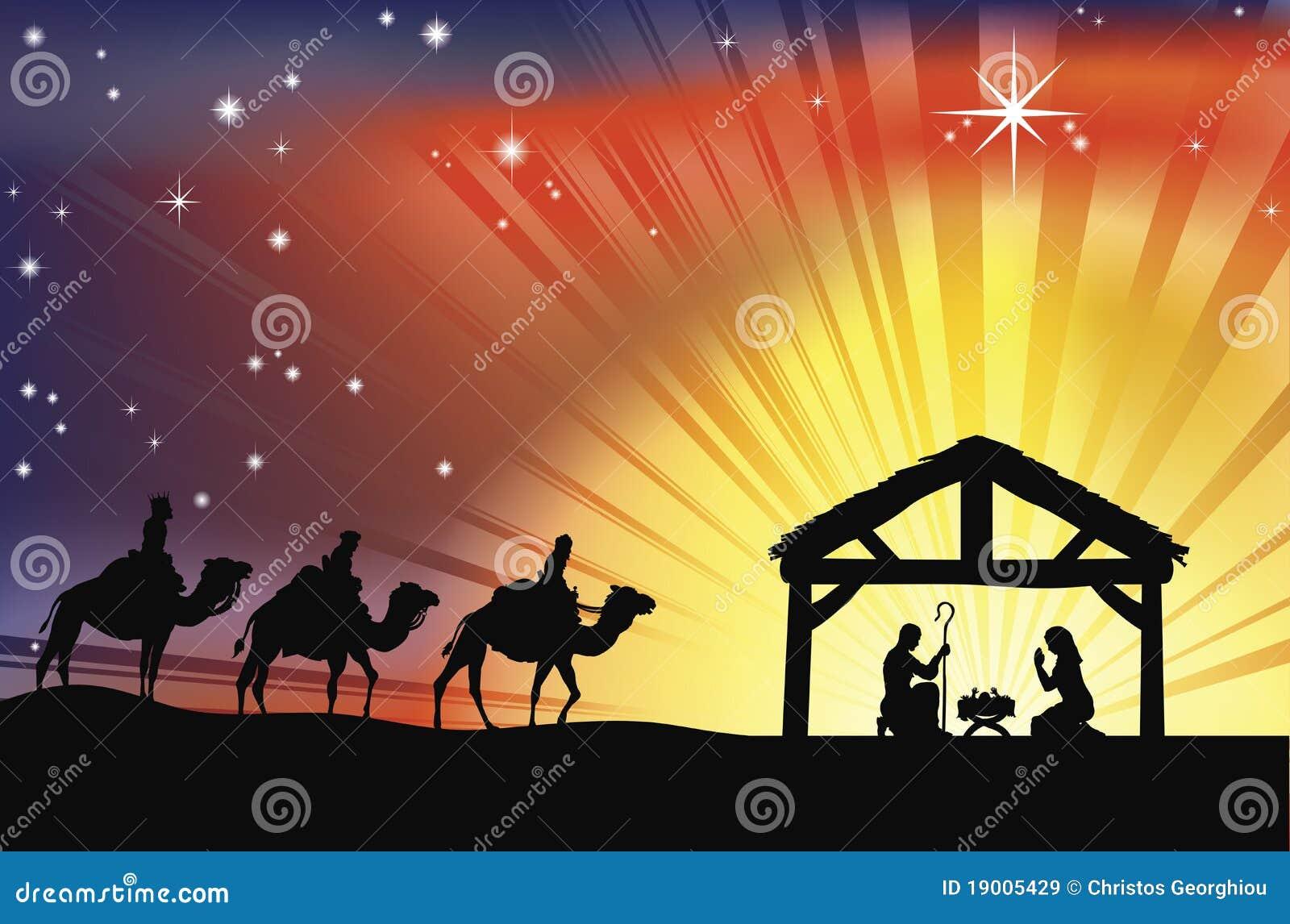 Escena cristiana de la natividad de la Navidad