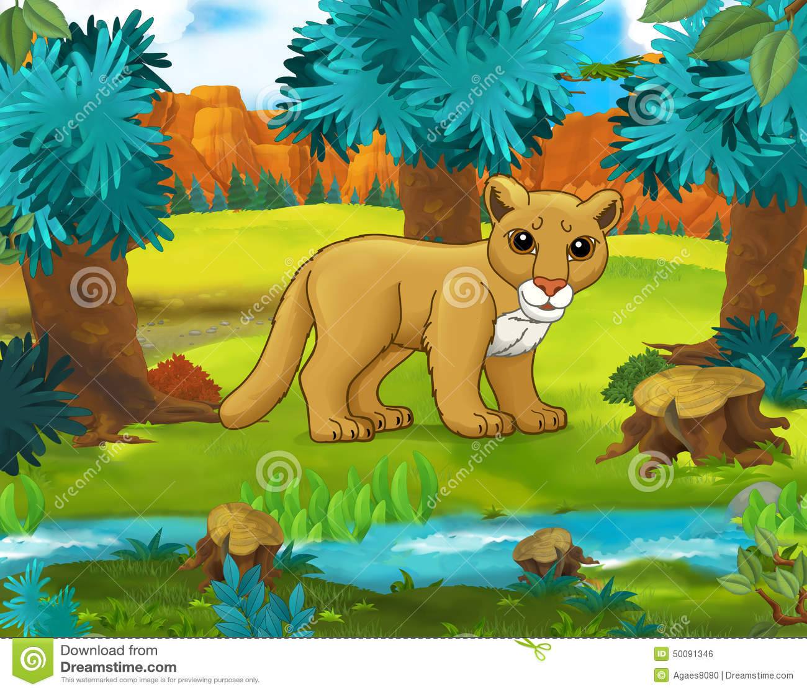 Salvajes Puma Historieta Animales La América Escena De oBedCx