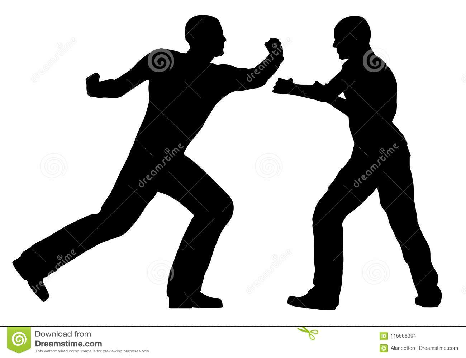 Escena de la lucha entre las siluetas aisladas de Street Fighter