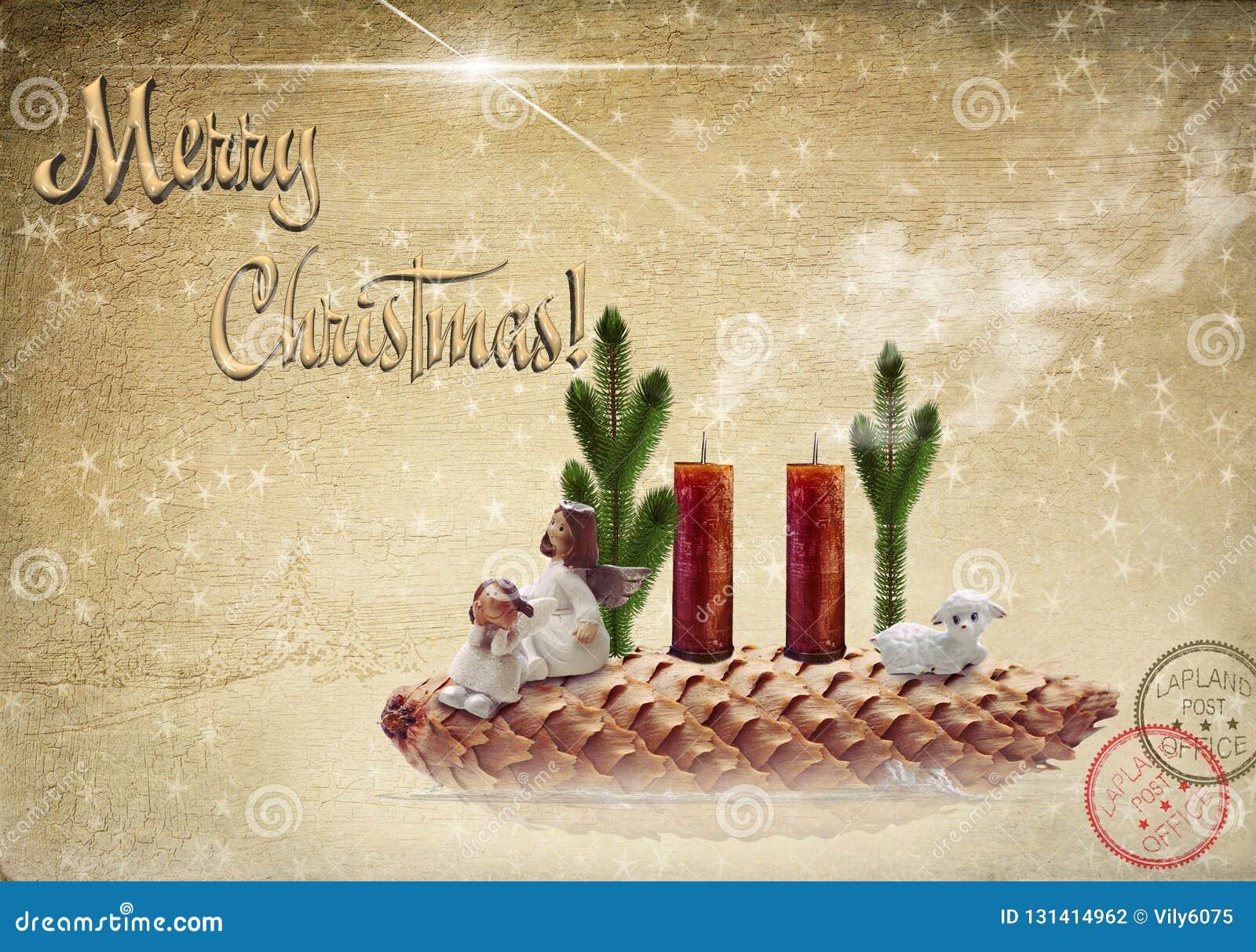 Escena de la natividad Dos ángeles y un cordero en un cono de abeto