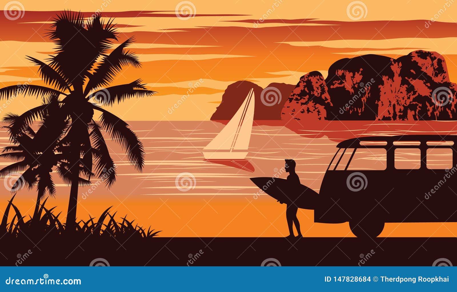 Escena de la naturaleza del mar en verano, tabla hawaiana del control del hombre cerca de la playa, diseño del color del vintage