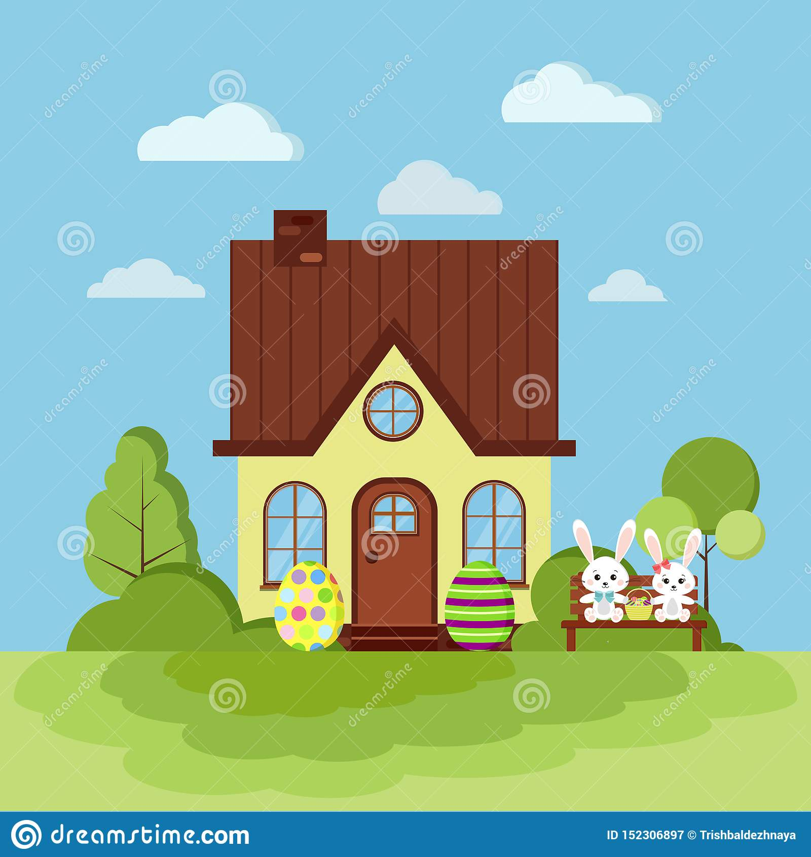 Escena de la naturaleza del paisaje de pascua del verano o de la primavera con la casa rural con la chimenea
