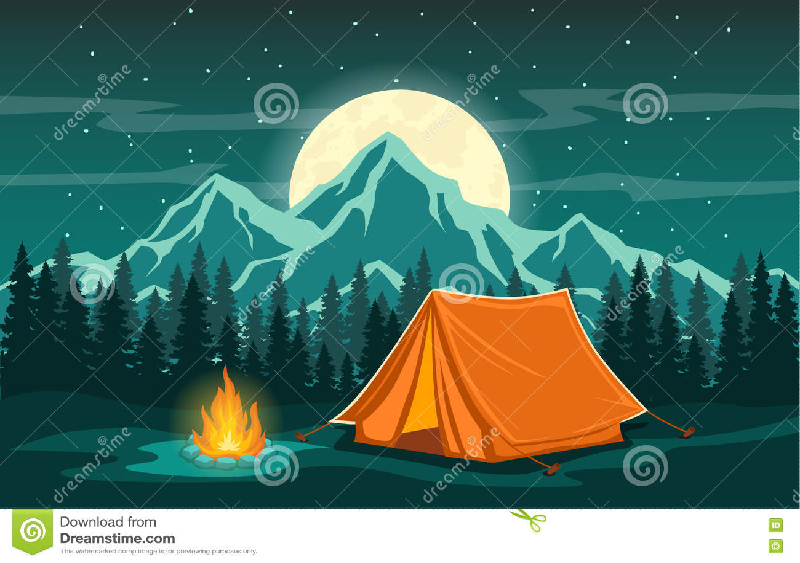 Escena de la tarde de la aventura que acampa