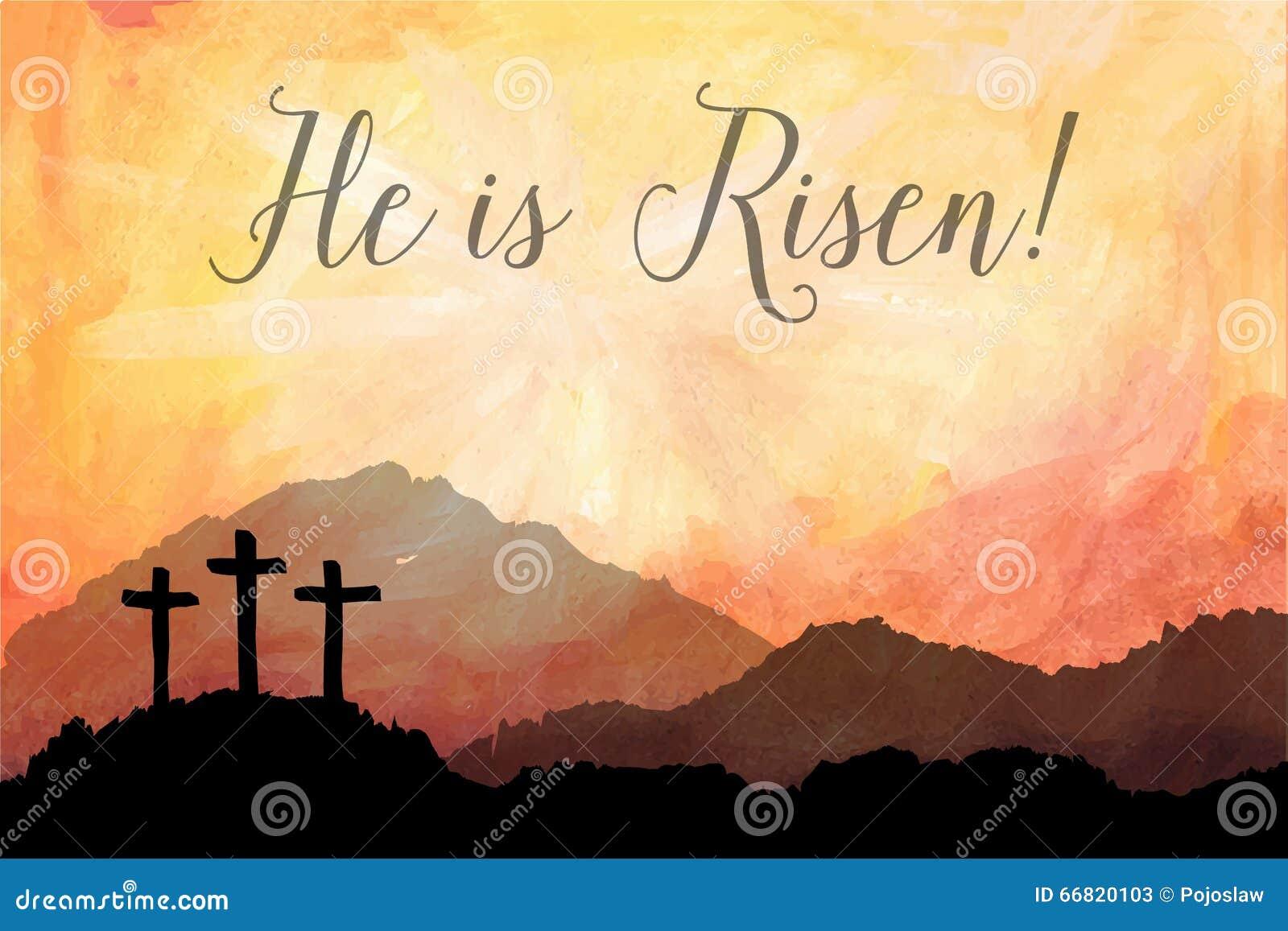 Escena de Pascua con la cruz Ejemplo del vector de Jesus Christ Watercolor
