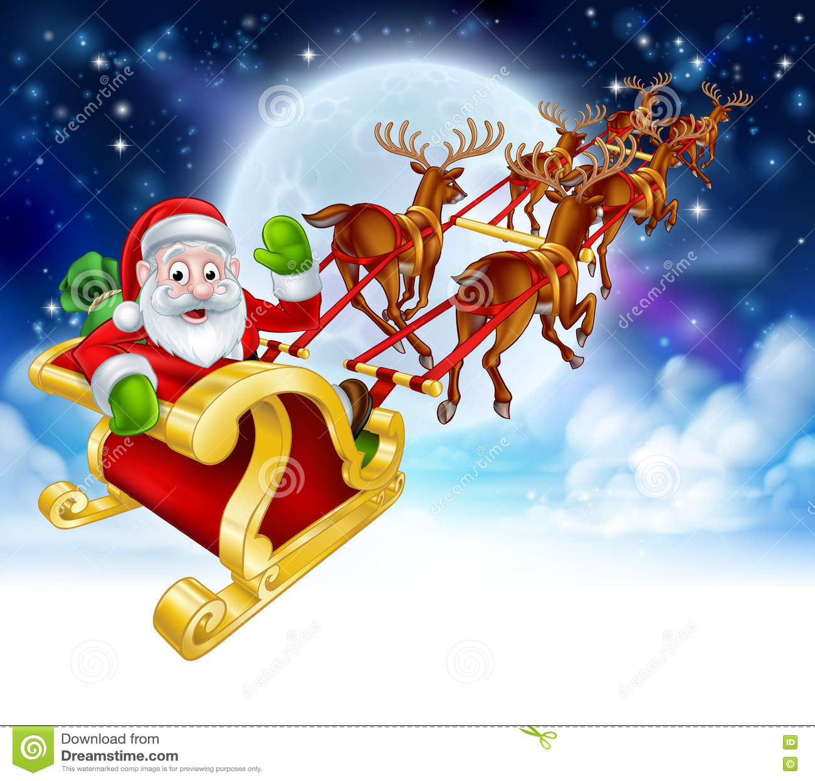 Escena de Santa Reindeer Sleigh Cartoon Christmas