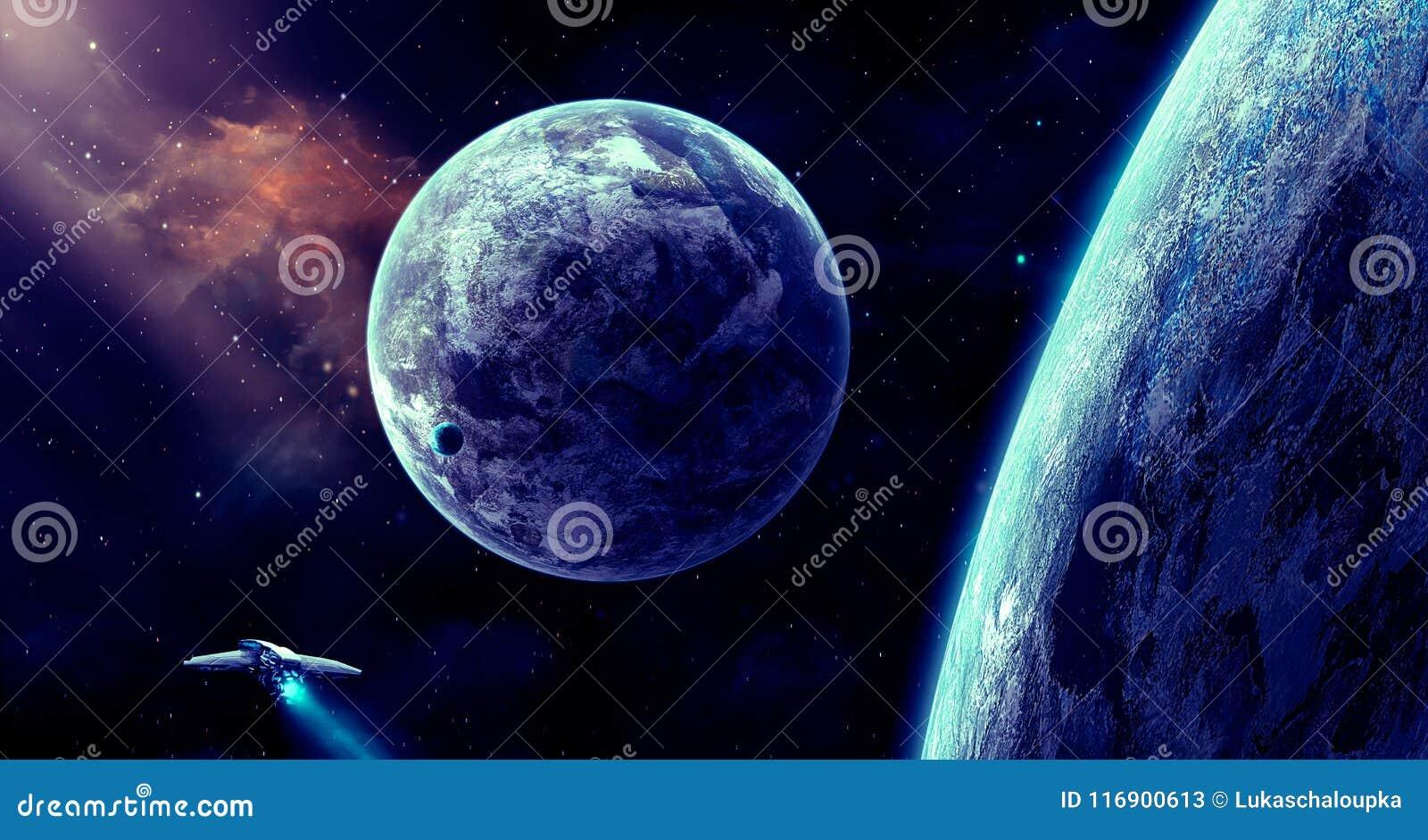 Escena del espacio Nebulosa anaranjada con el planeta y la nave espacial Elementos f
