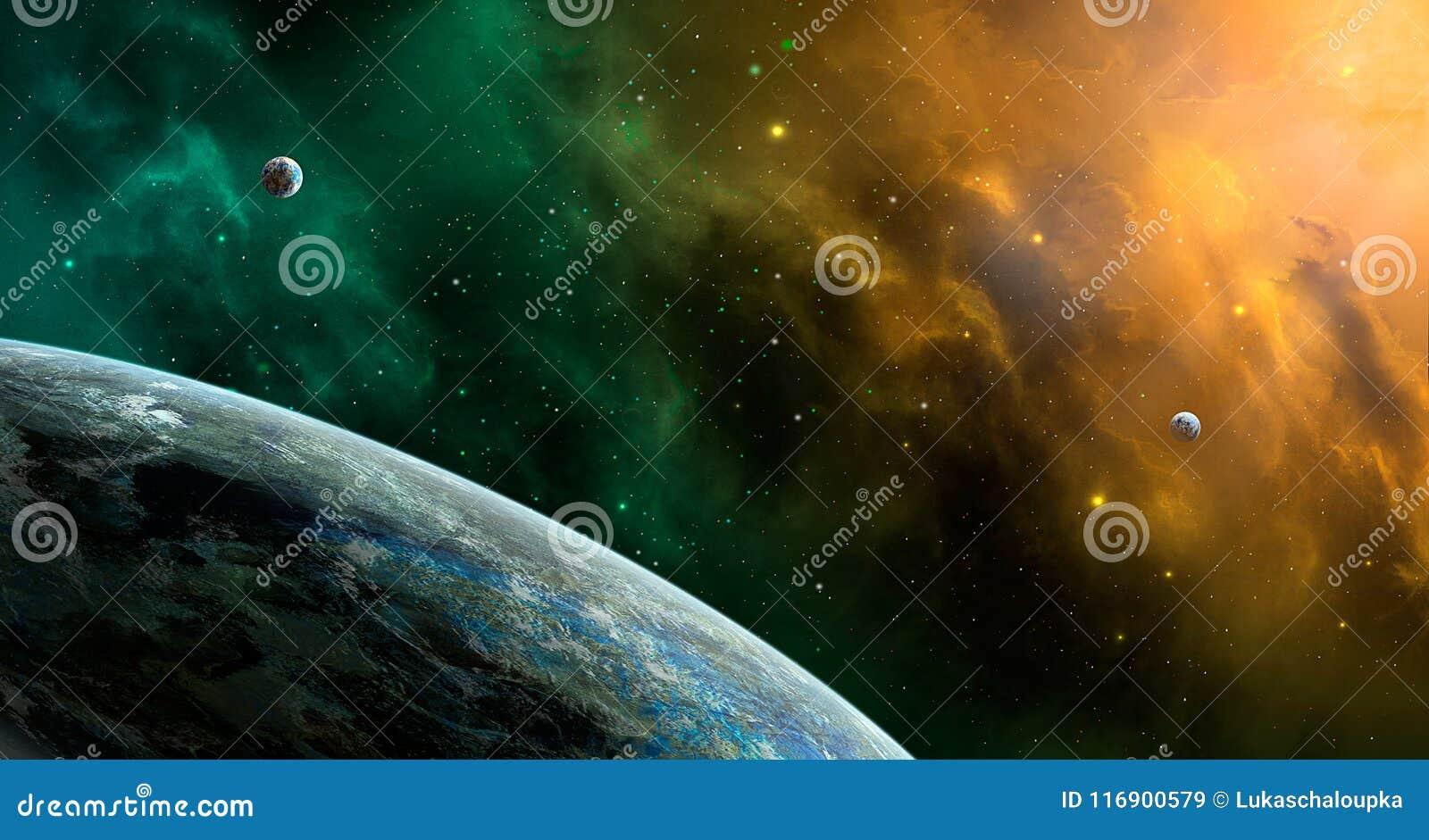 Escena del espacio Nebulosa anaranjada y verde con los planetas Furn de los elementos