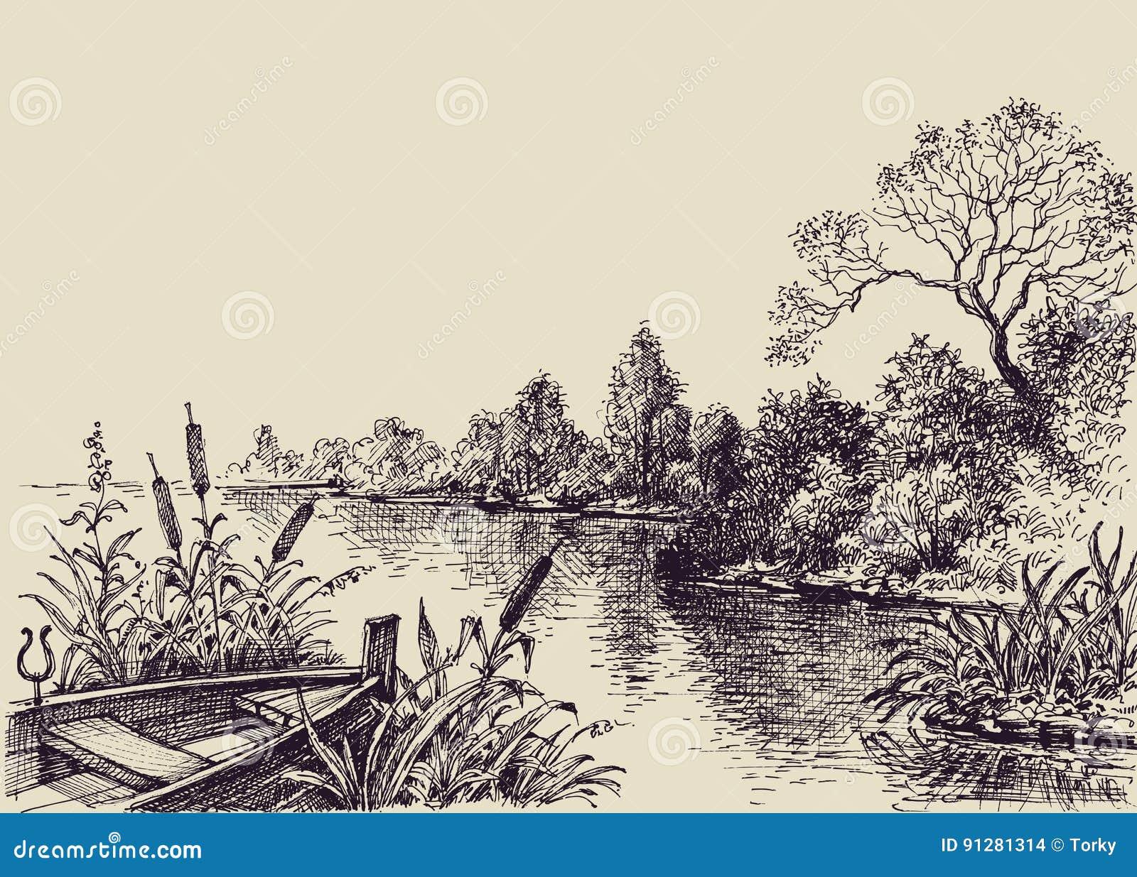Escena del flujo del río