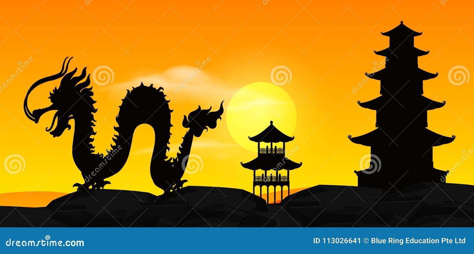 Escena del fondo con el dragón chino de la silueta en la puesta del sol