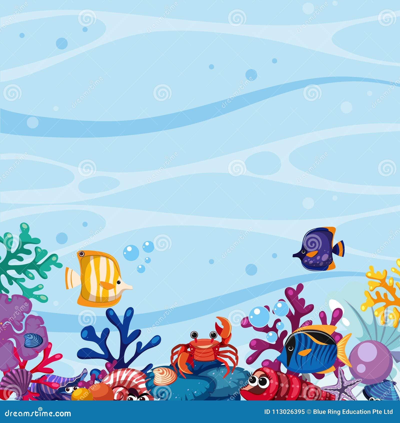 Escena del fondo con los pescados y coral subacuático