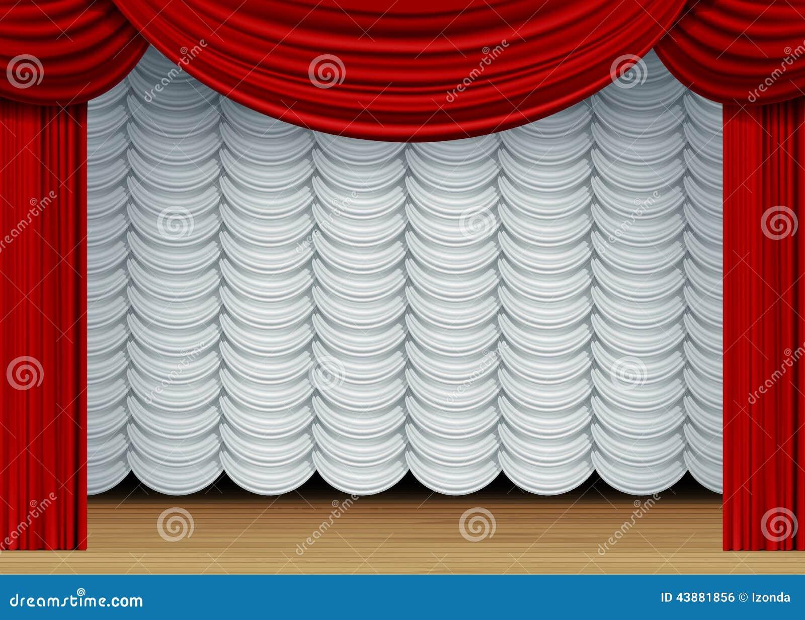 escena del vector con las cortinas blancas y rojas imagen de archivo libre de regalas
