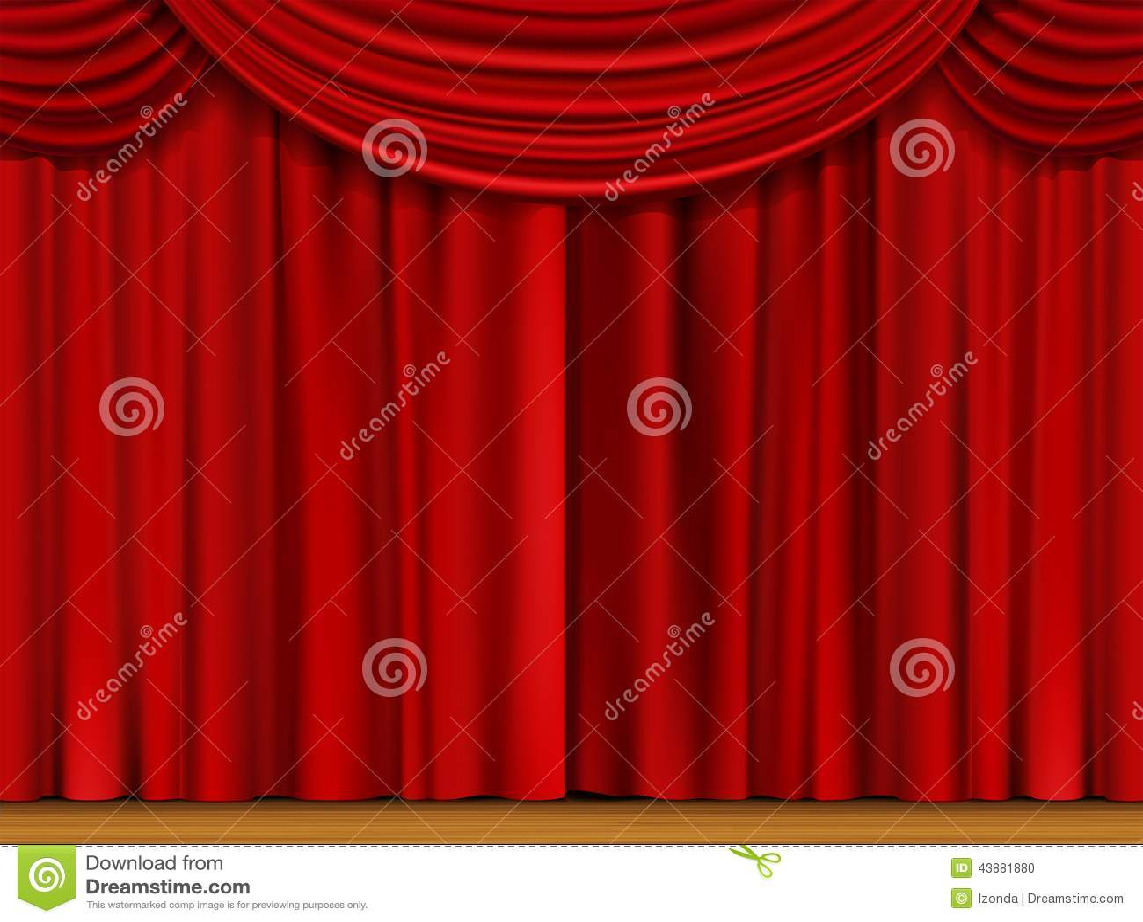 escena del vector con las cortinas rojas