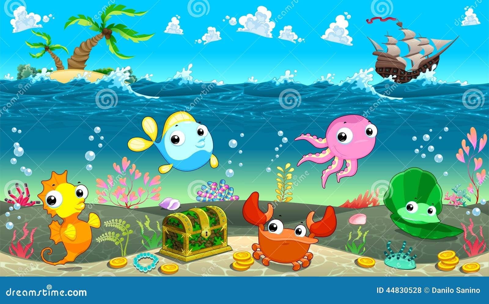 Escena divertida debajo del mar