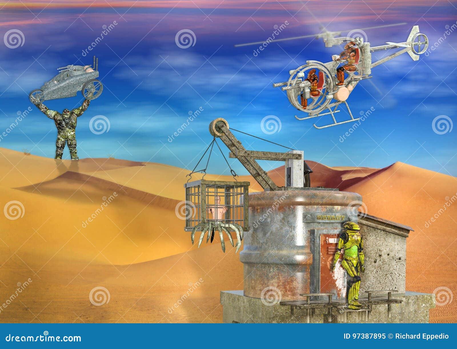 Escena dystopian futurista surrealista del desierto 3D