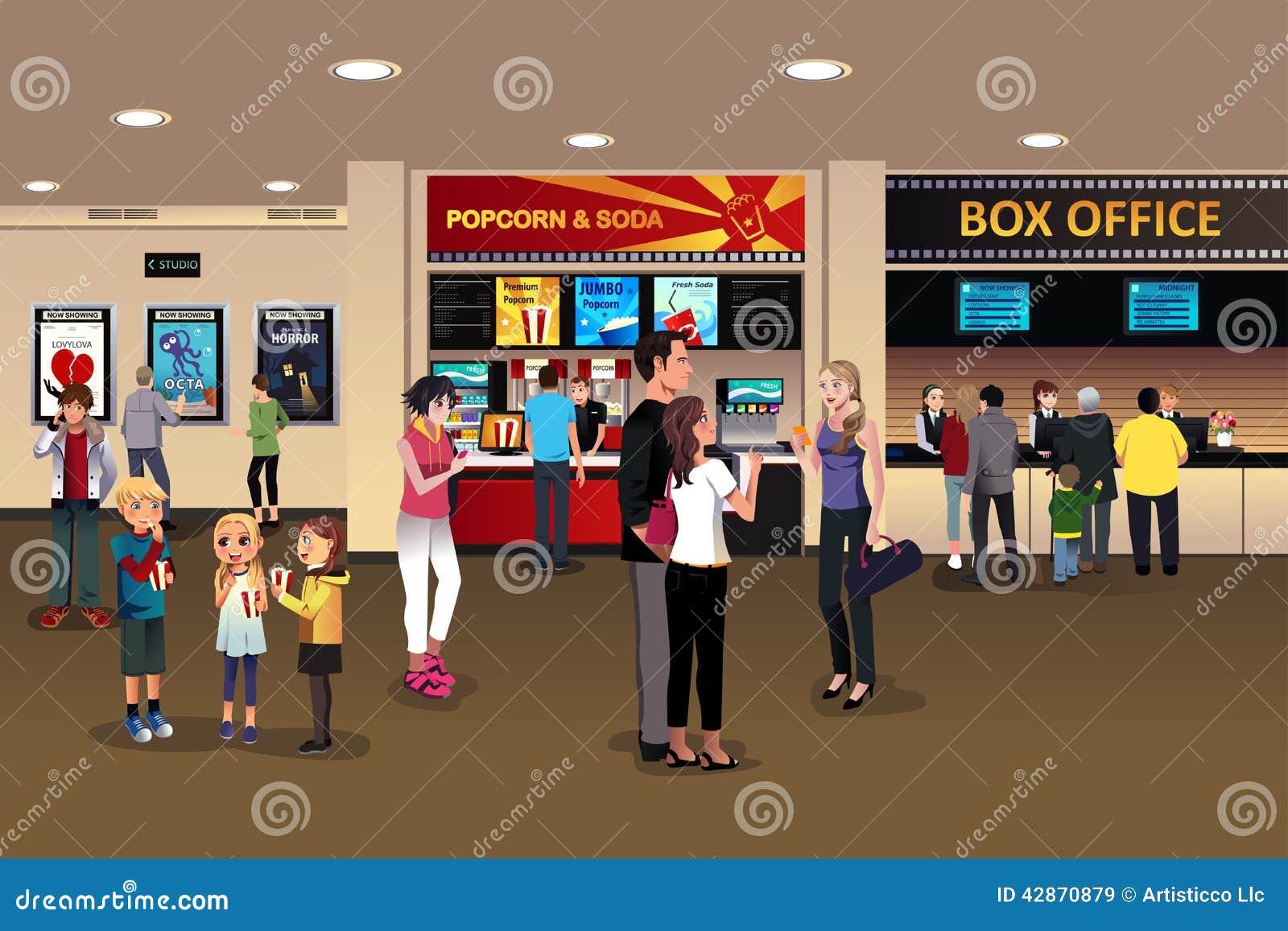 Escena en el pasillo del cine