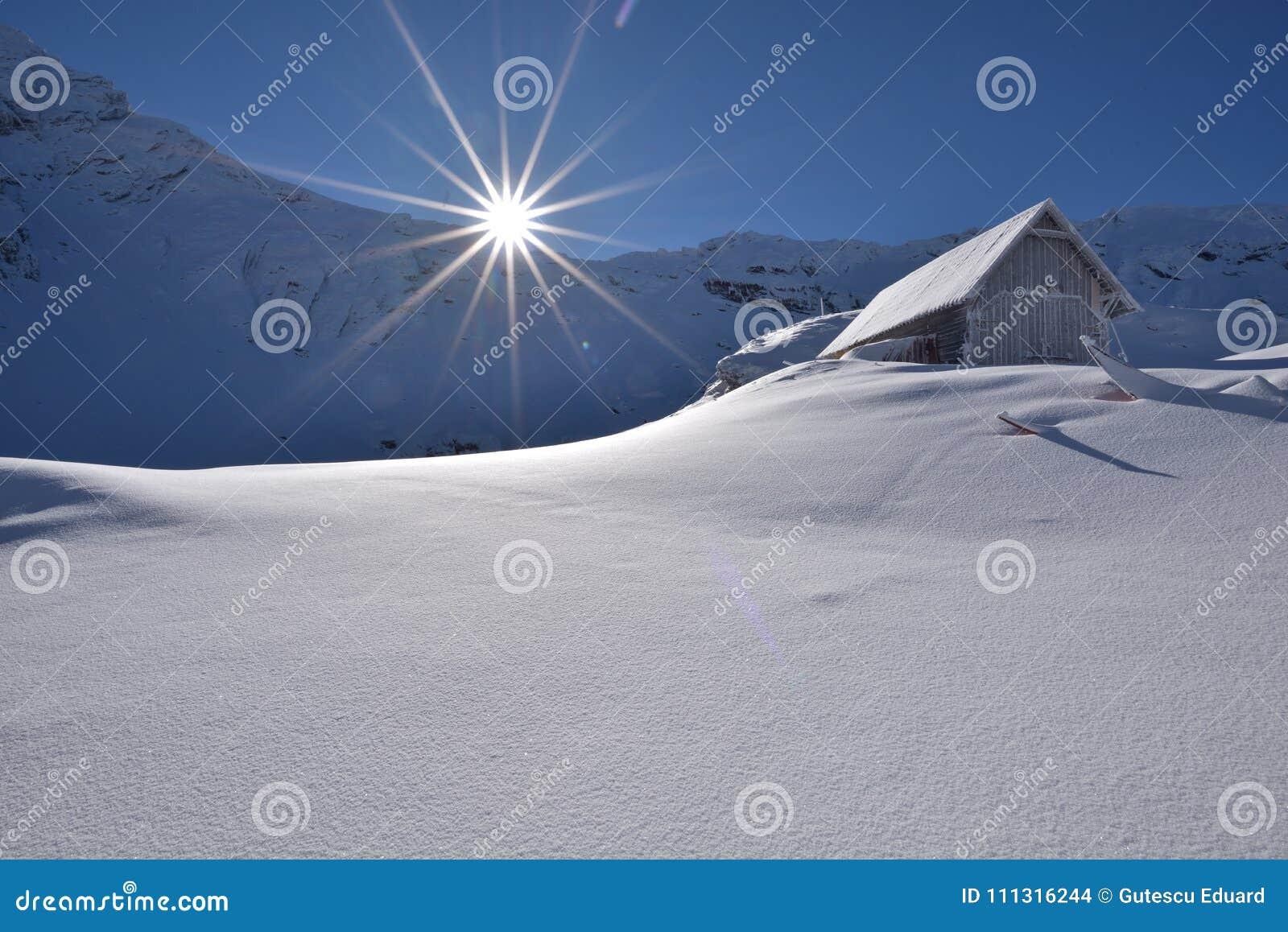Escena en Rumania, paisaje hermoso de las montañas de Fagaras, laca del invierno de Balea