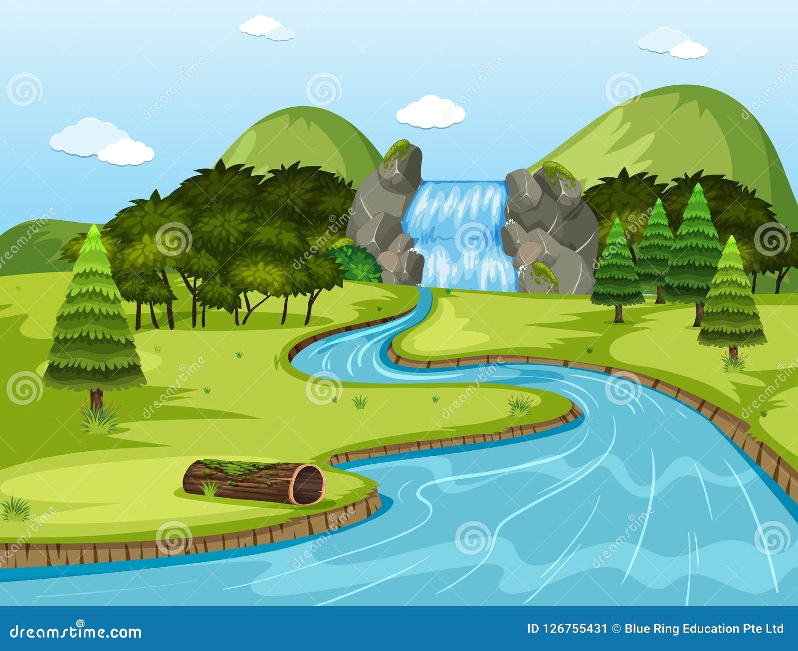 Escena hermosa del paisaje de la cascada