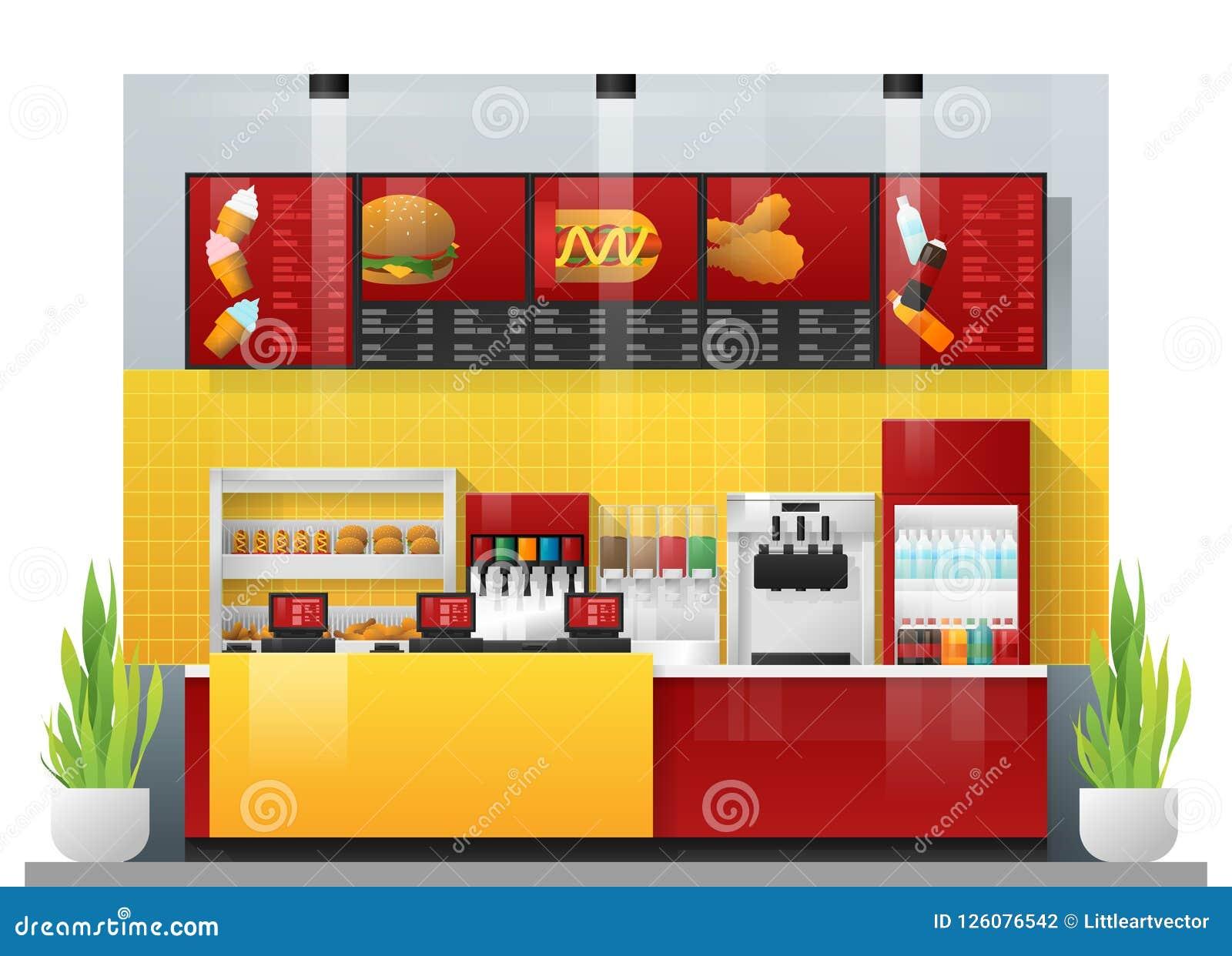 Escena Interior Del Restaurante Moderno De Los Alimentos De Preparacion Rapida Ilustracion Del Vector Ilustracion De Rapida Alimentos 126076542