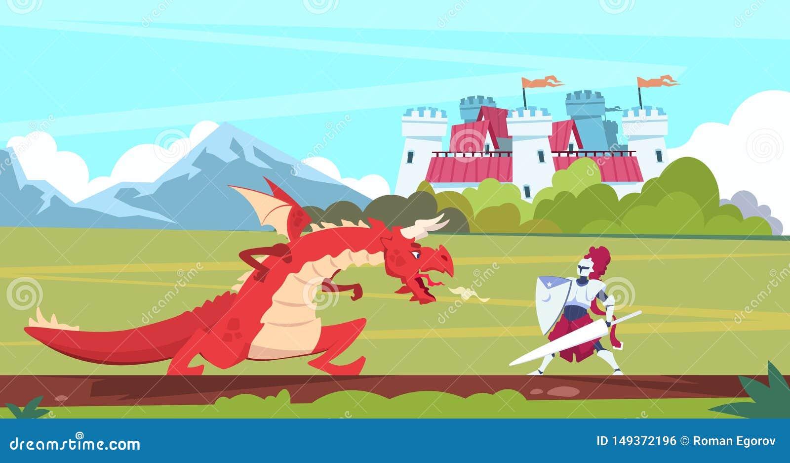 Escena medieval de la historieta Caracteres planos del cuento de hadas de la lucha, del monstruo y del pr?ncipe del guerrero del