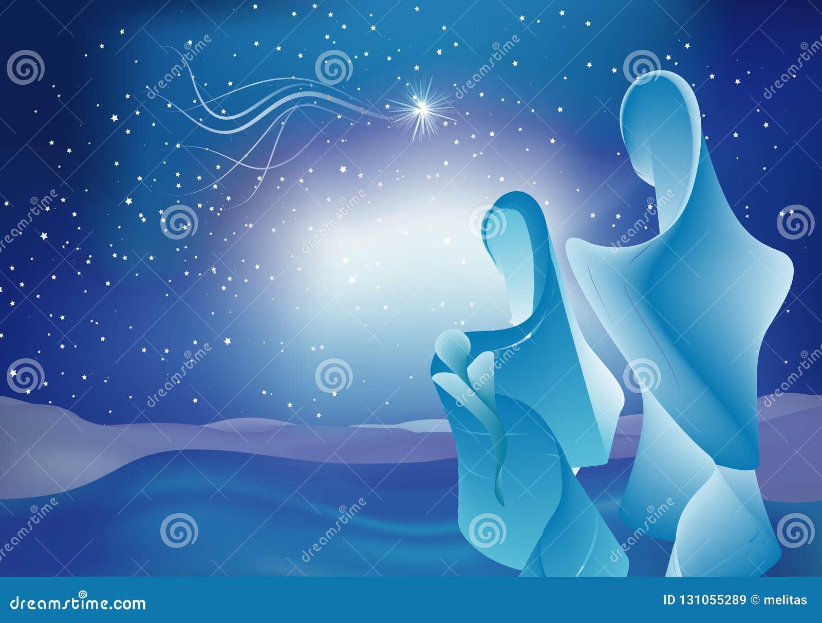 Escena moderna de la natividad con el bebé Jesús - Maria y José Familia santa en fondo estrellado del cielo azul bethlehem