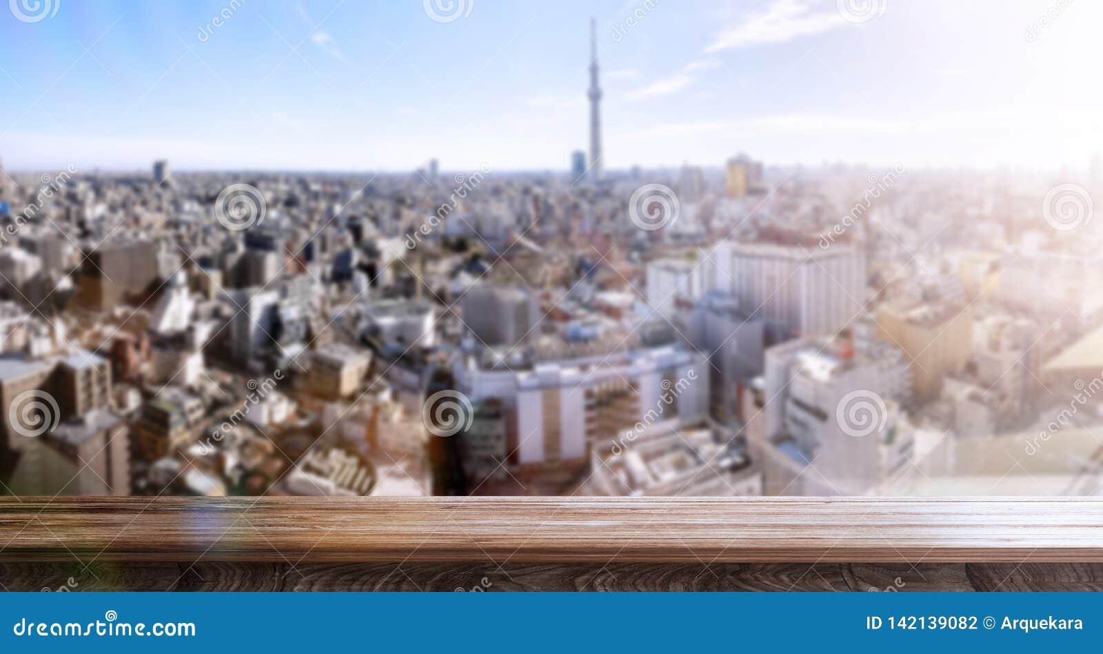 Escena panorámica Blurred Tokio por una mañana