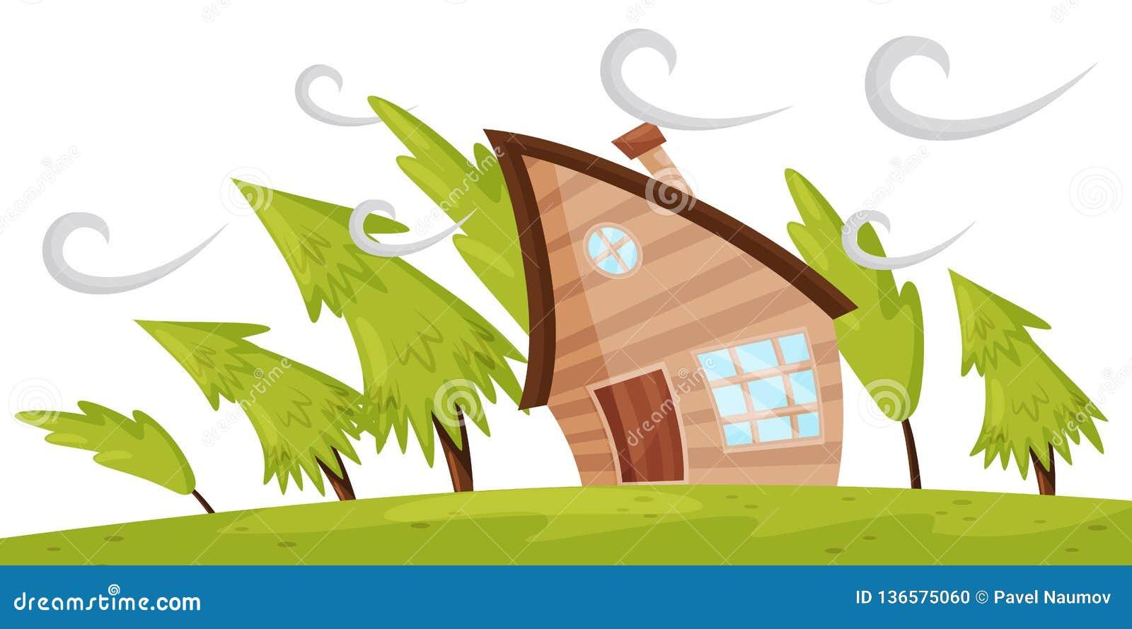 Escena plana del vector con la casa y los abetos que arrancan por el fuerte viento Tormenta de viento potente Desastre natural
