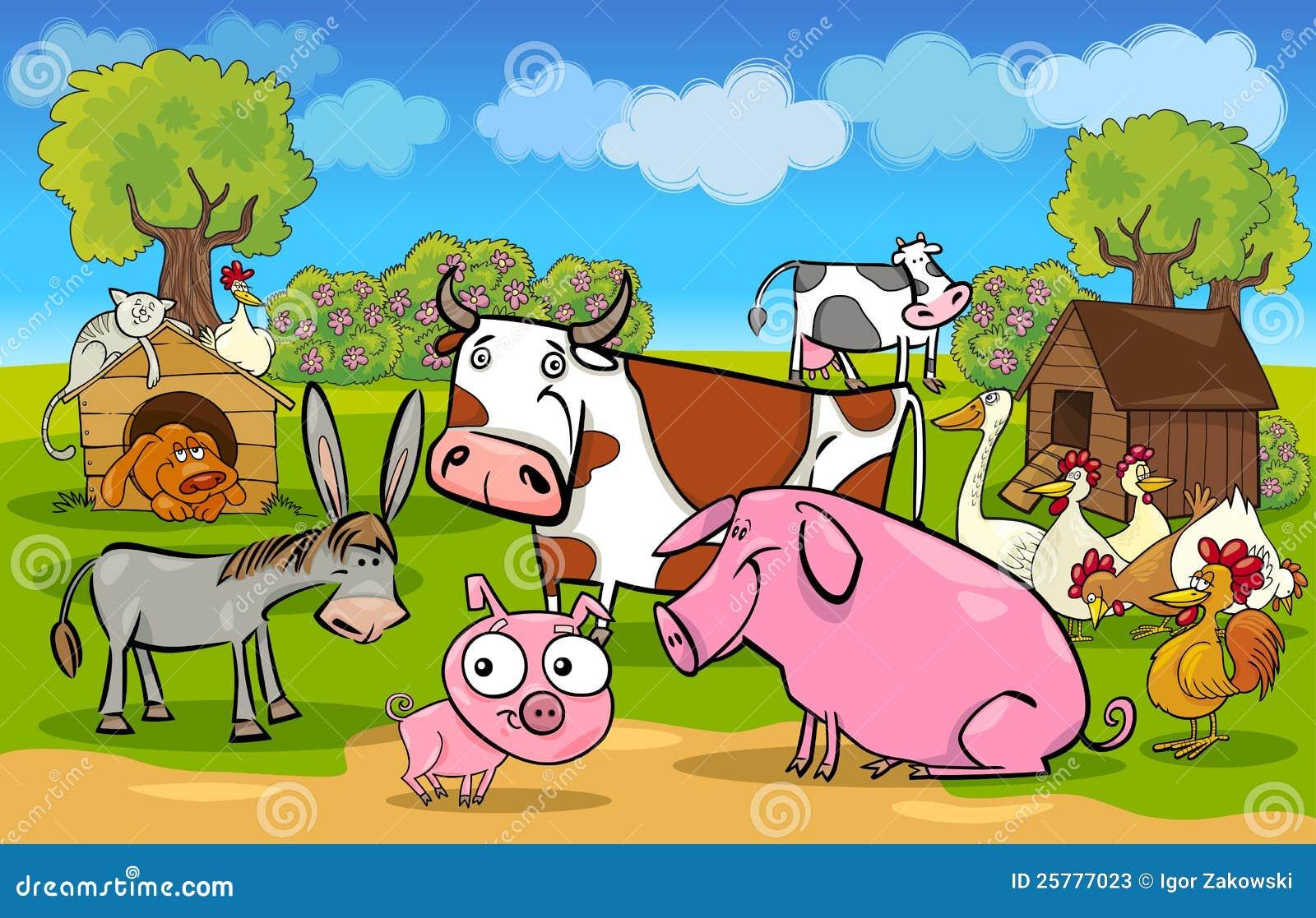 Escena rural de la historieta con los animales del campo
