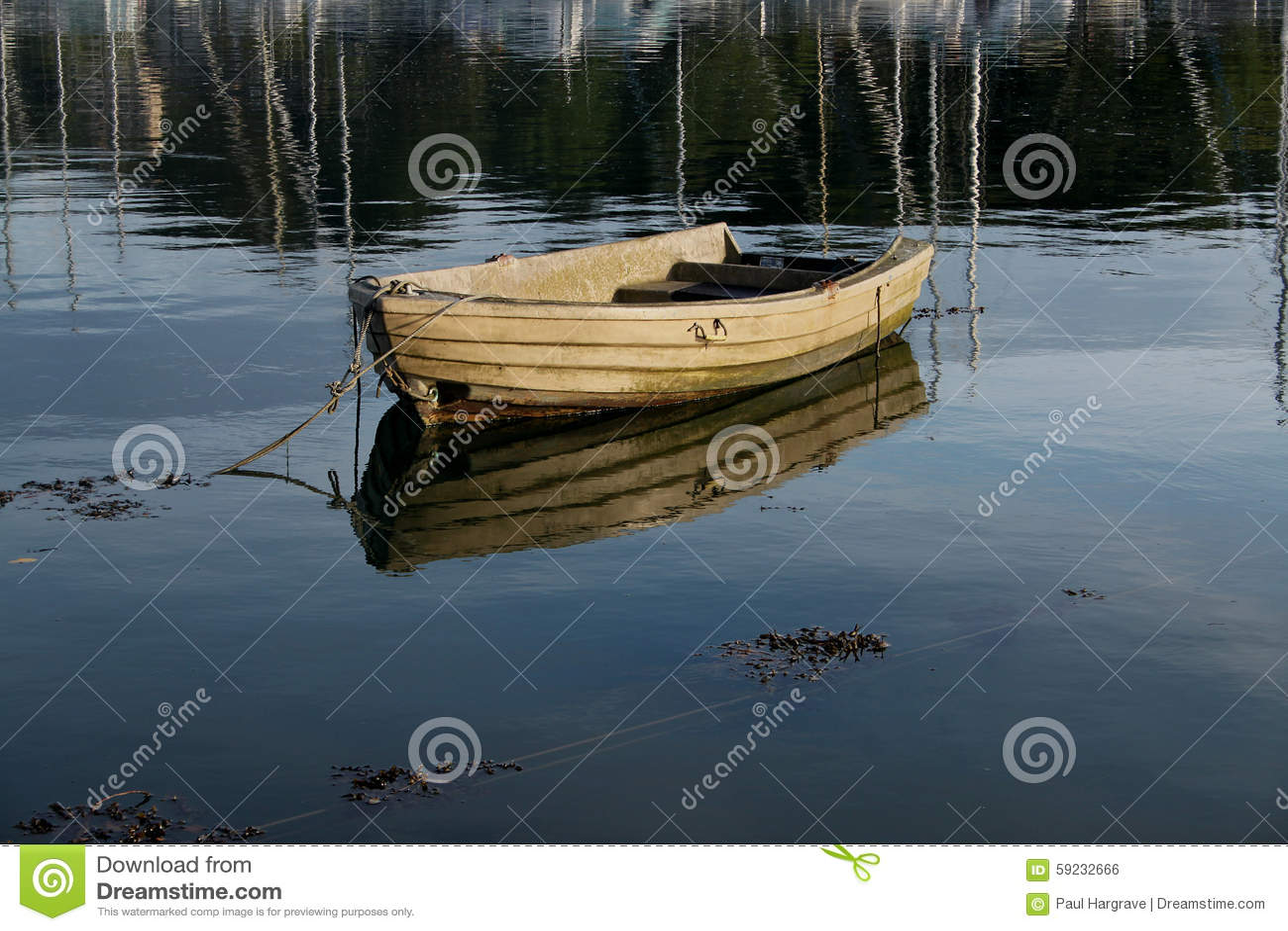 Escena tranquila del barco de rowing