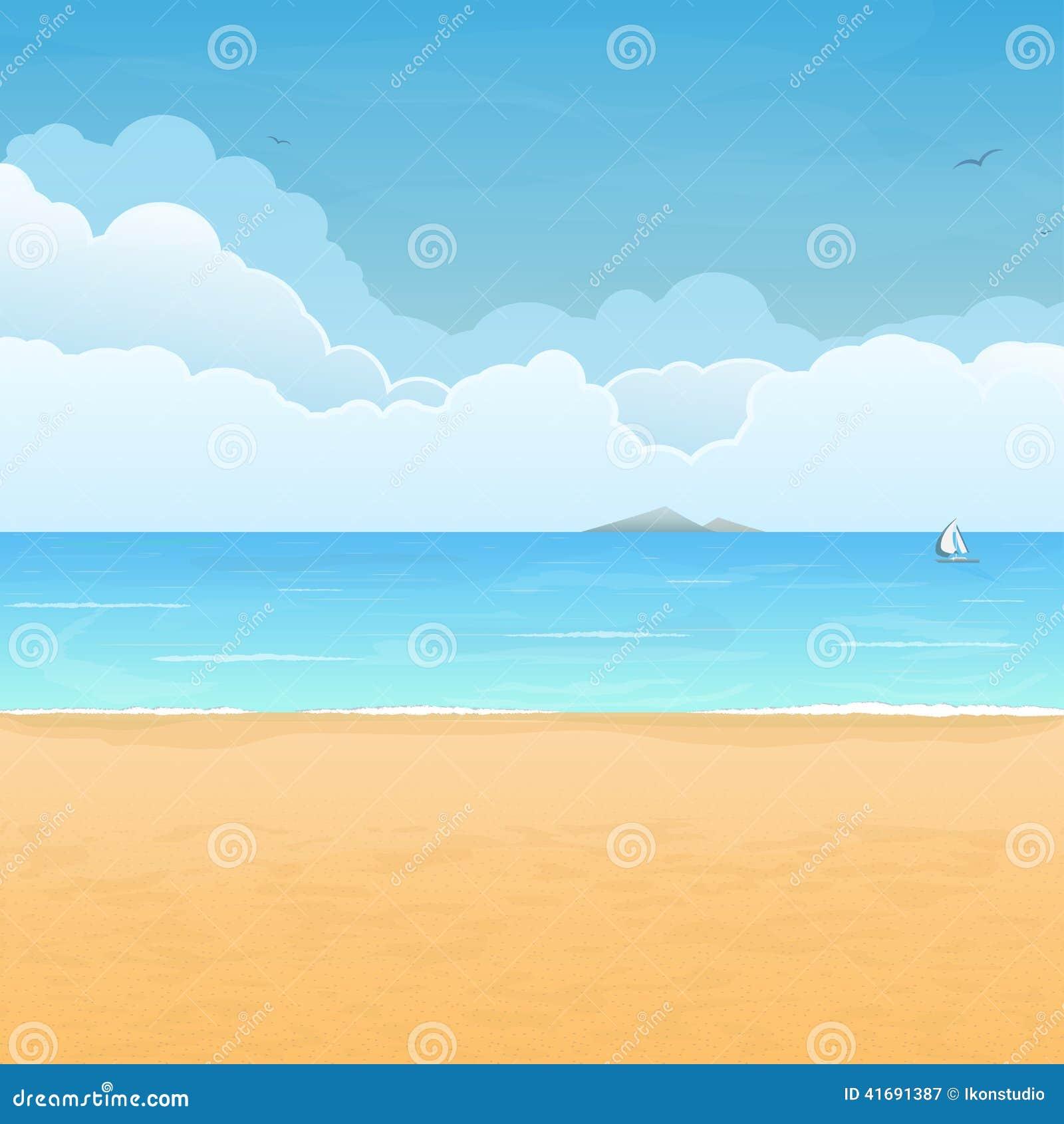 Escena tropical de la playa y de las nubes