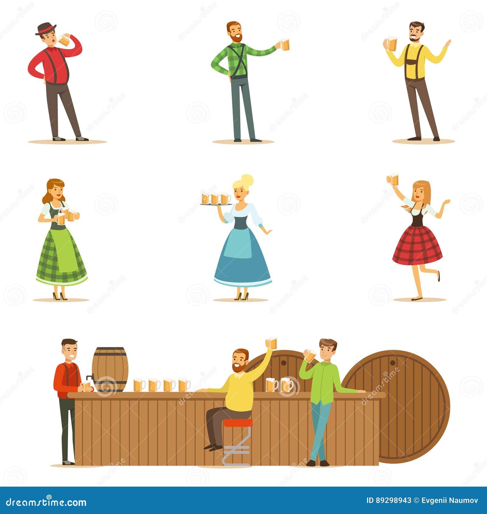 Escenas del festival de la cerveza de Oktoberfest con la gente en trajes  tradicionales bávaros que bebe la cerveza y que se divierte fijada Hombre y  mujeres ... c1725167702