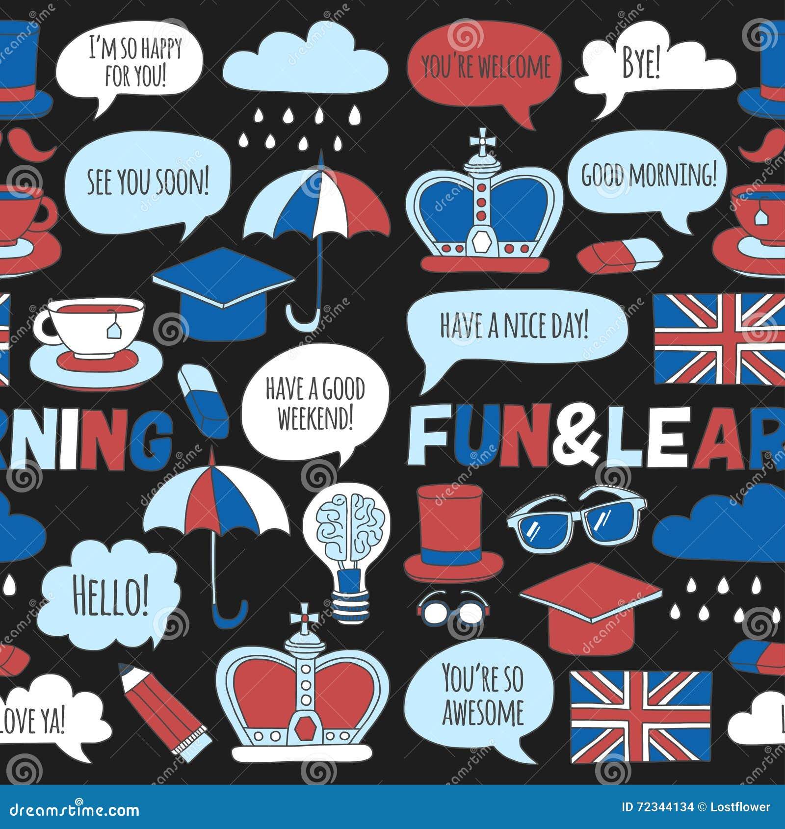 Escola de língua ajustada dos cursos do inglês dos testes padrões e dos ícones da garatuja do vetor