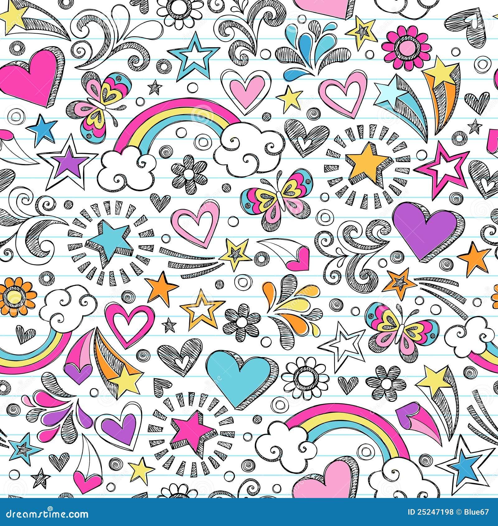 A escola esboçado Doodles o teste padrão do coração e de estrelas