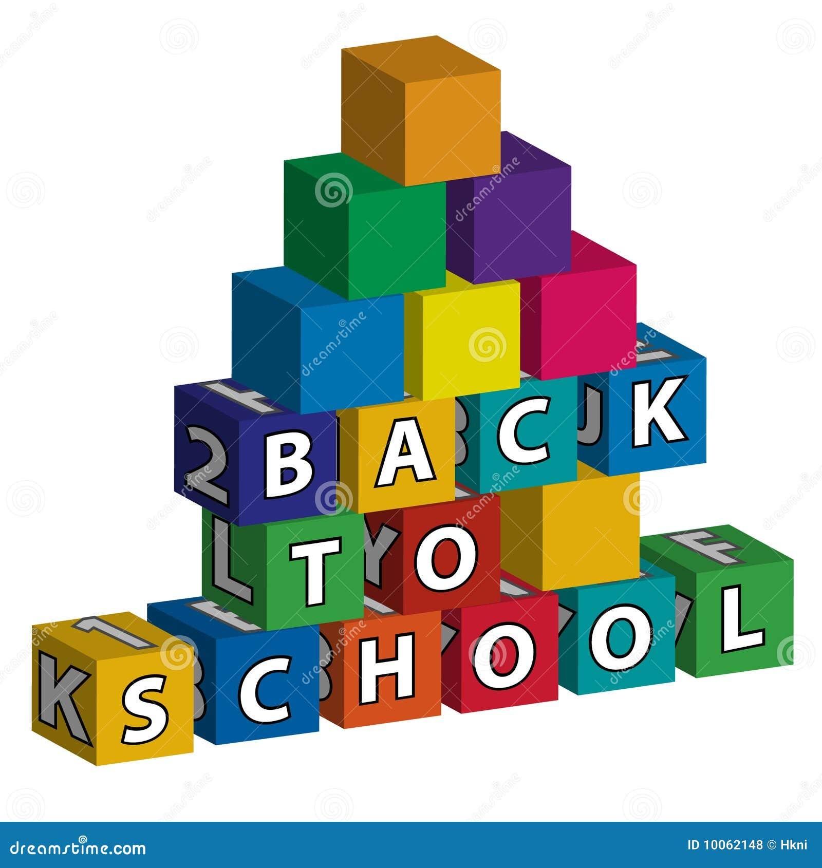 Escola menor construída de blocos do brinquedo