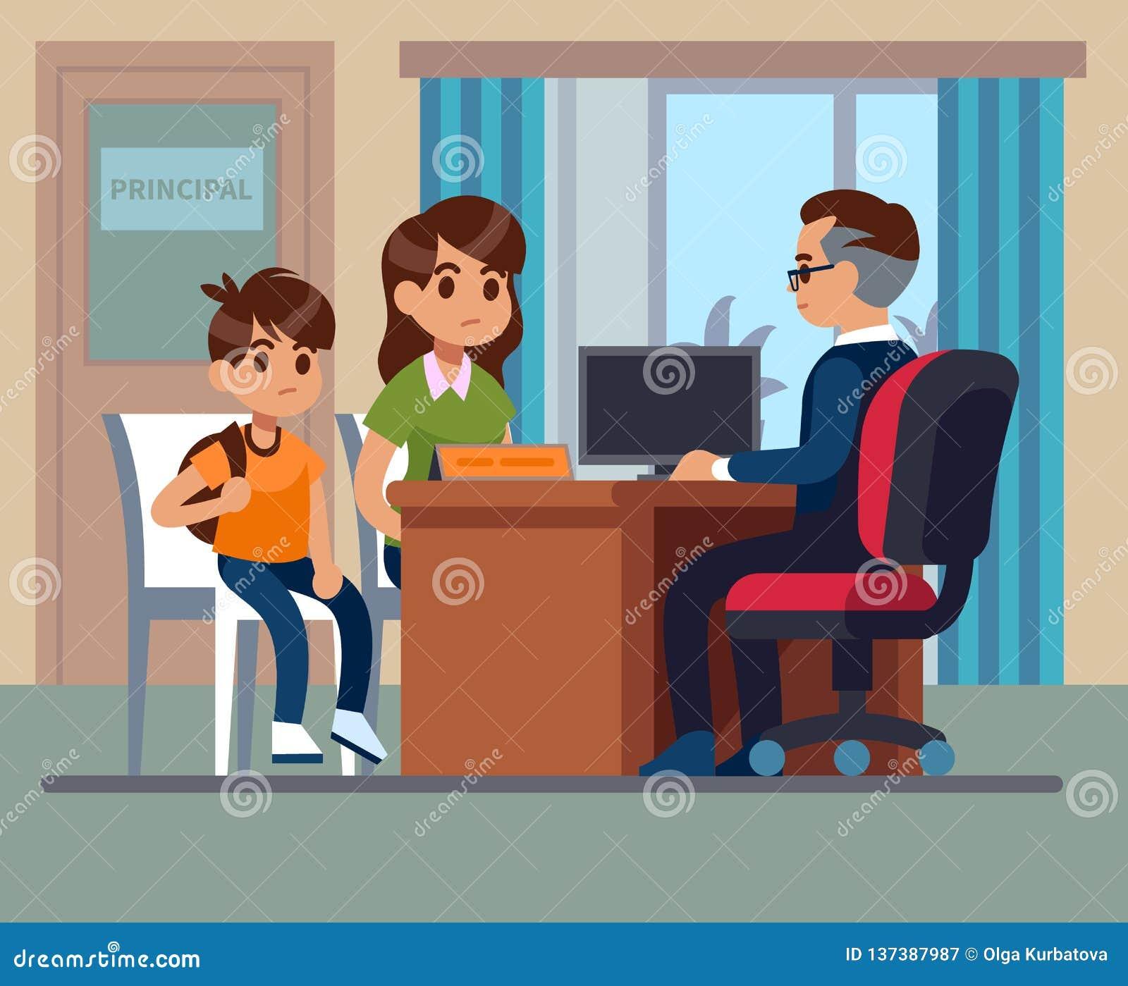 Escola principal Reunião do professor das crianças dos pais no escritório Mamã infeliz, conversa do filho com diretor irritado Ed