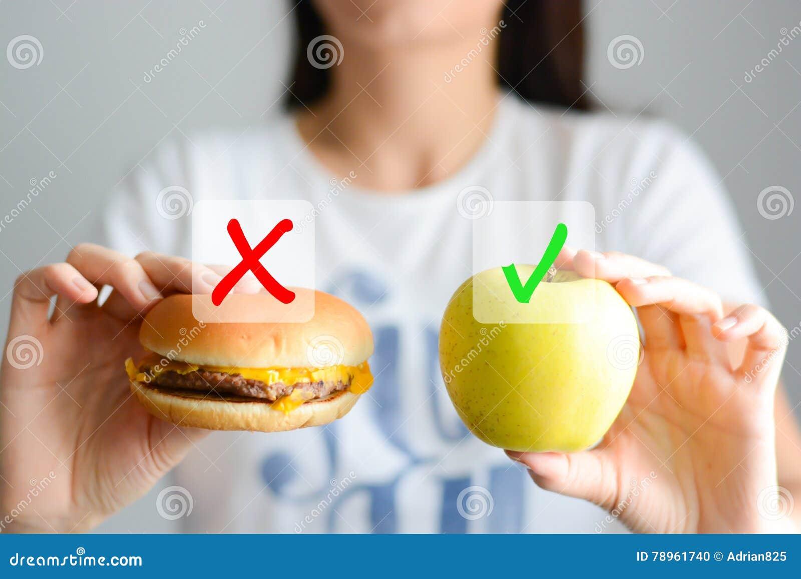 Escolha entre a comida lixo e uma dieta saudável