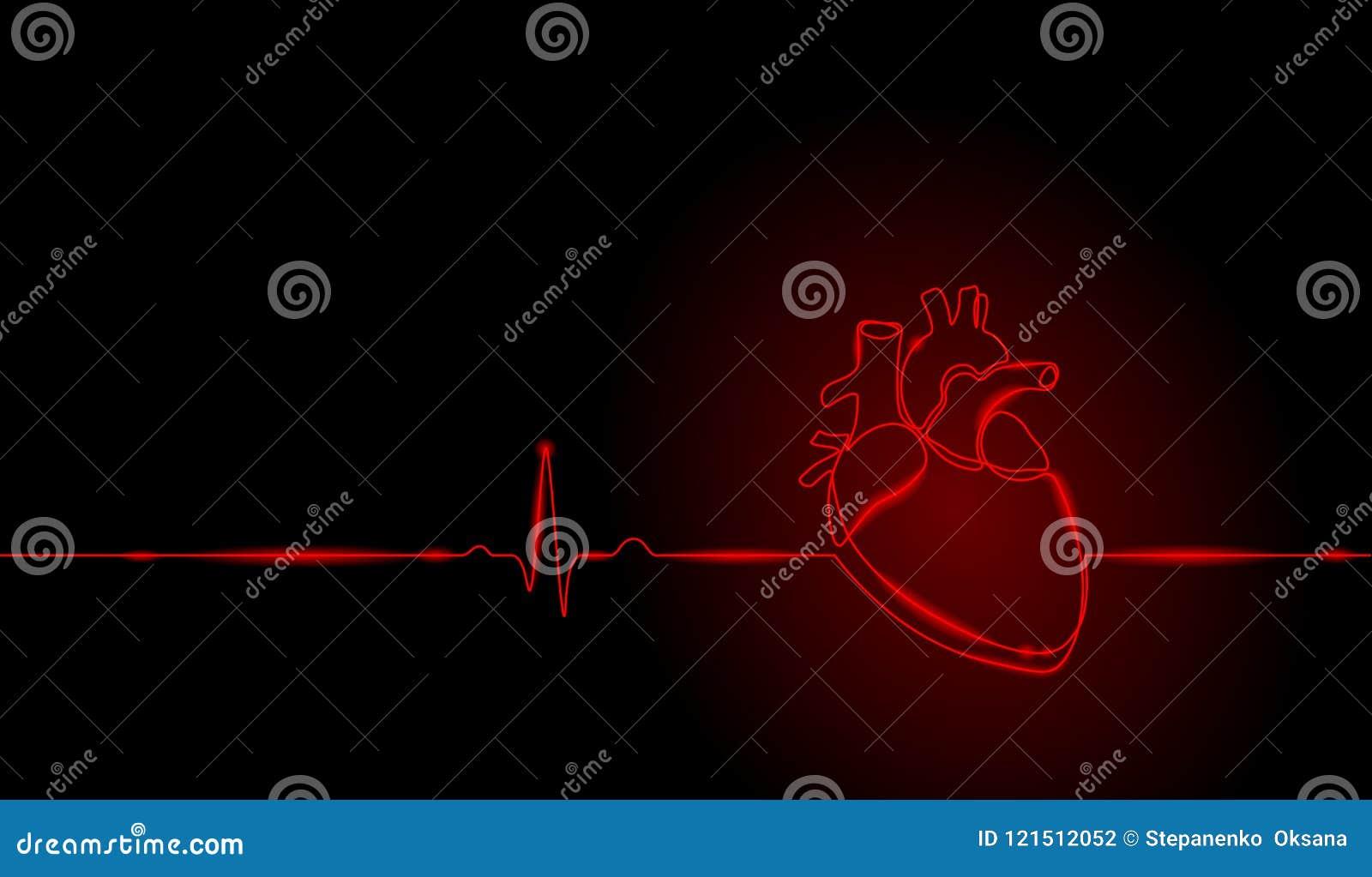 Escolha a linha contínua silhueta humana anatômica do coração da arte Esboço de néon saudável do vermelho um do fulgor do projeto