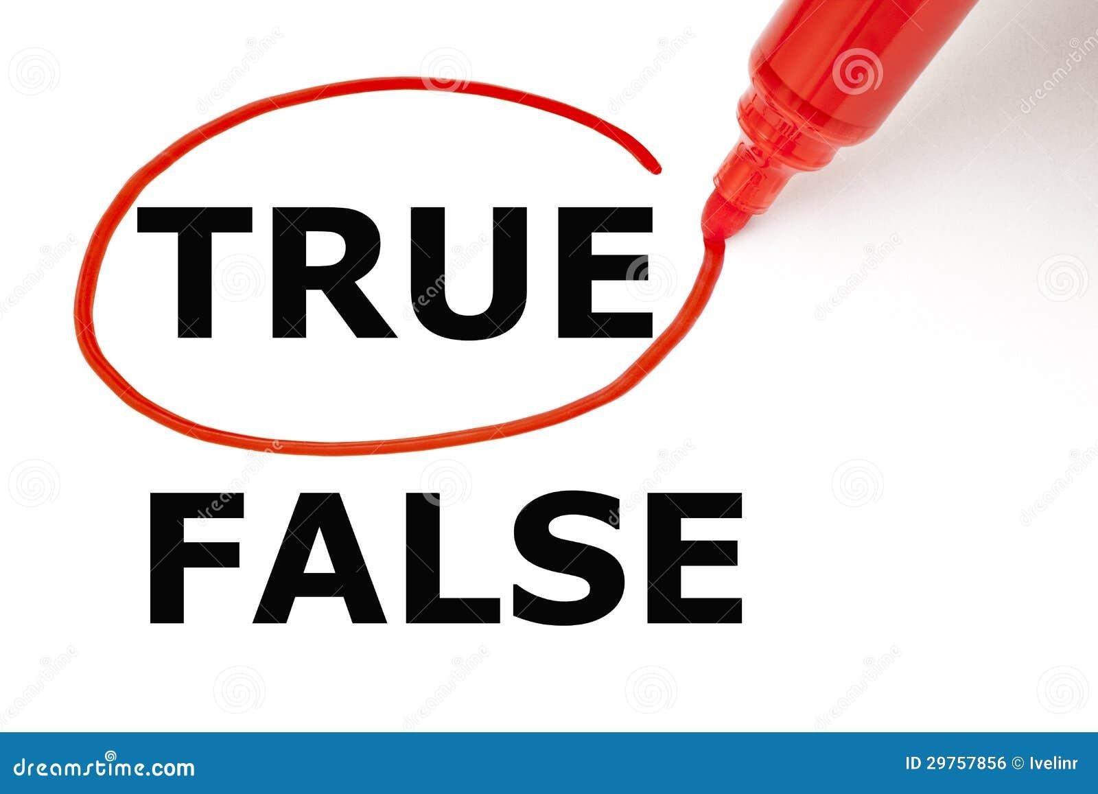 Verdadeiro ou falso com marcador vermelho