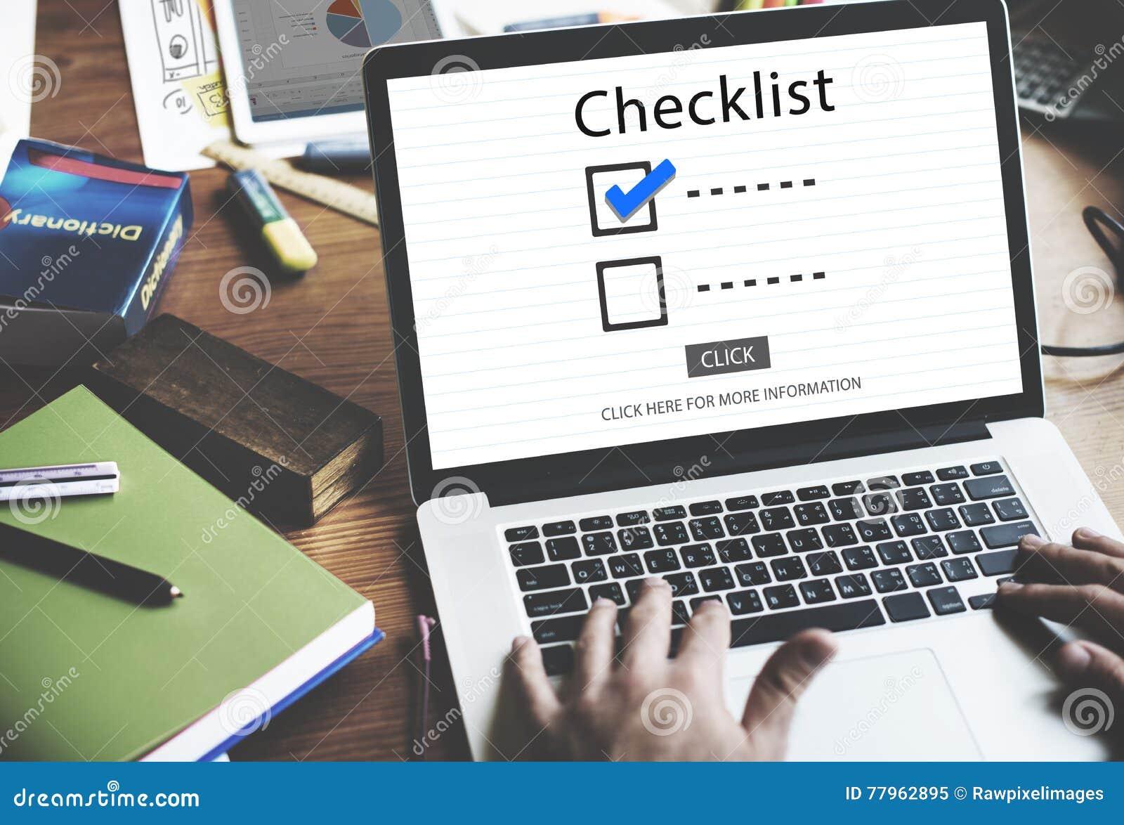 Escolhas da lista de verificação para fazer o conceito da avaliação da auditoria
