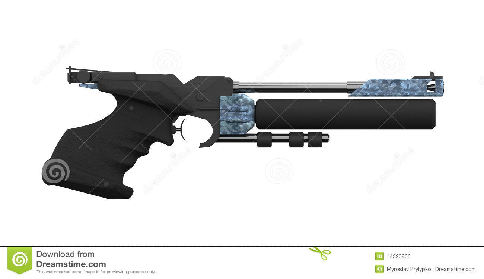 Escopeta de aire comprimido atlética, perfil lateral, negro