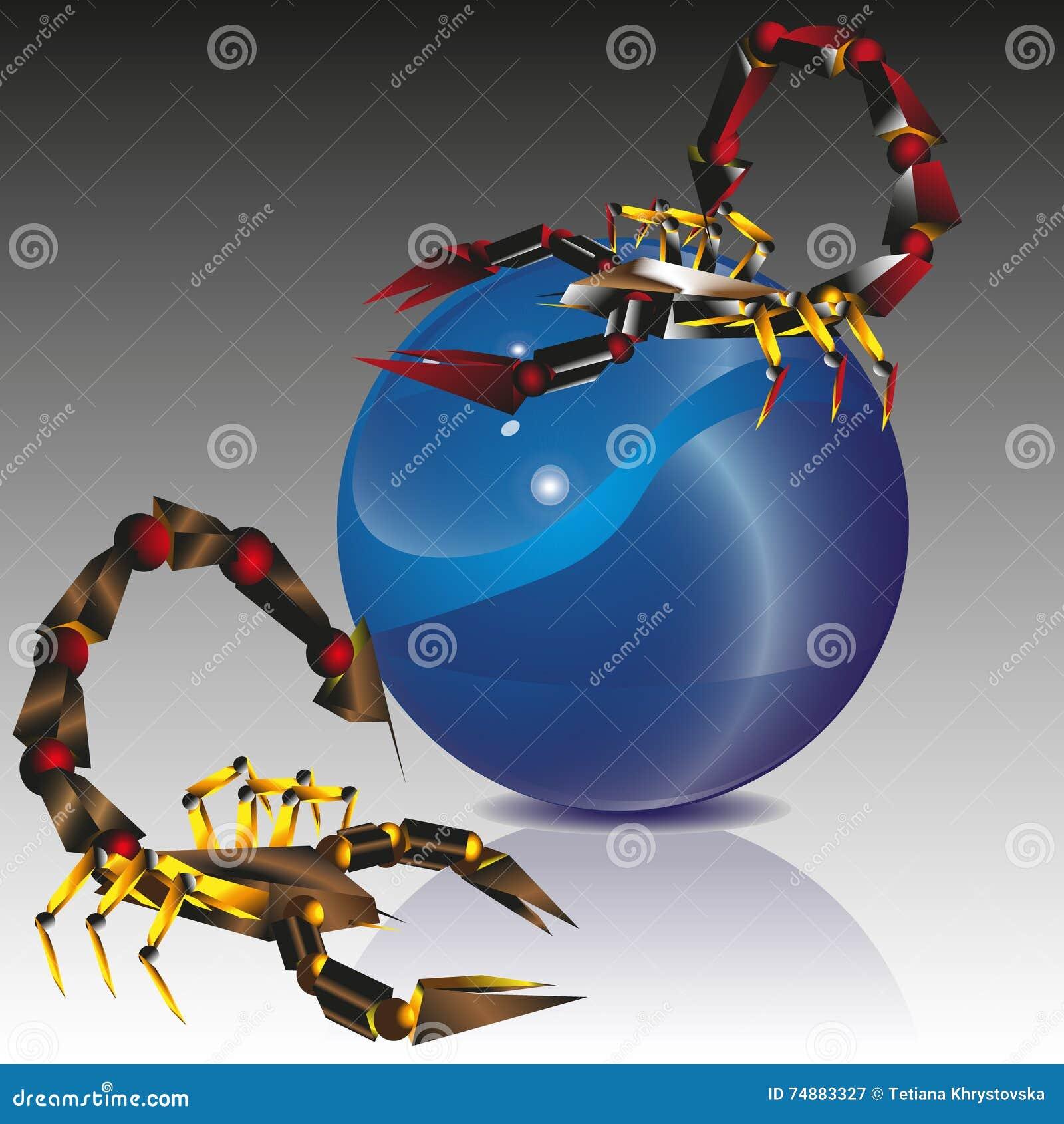 Escorpião da colagem dois e bola azul