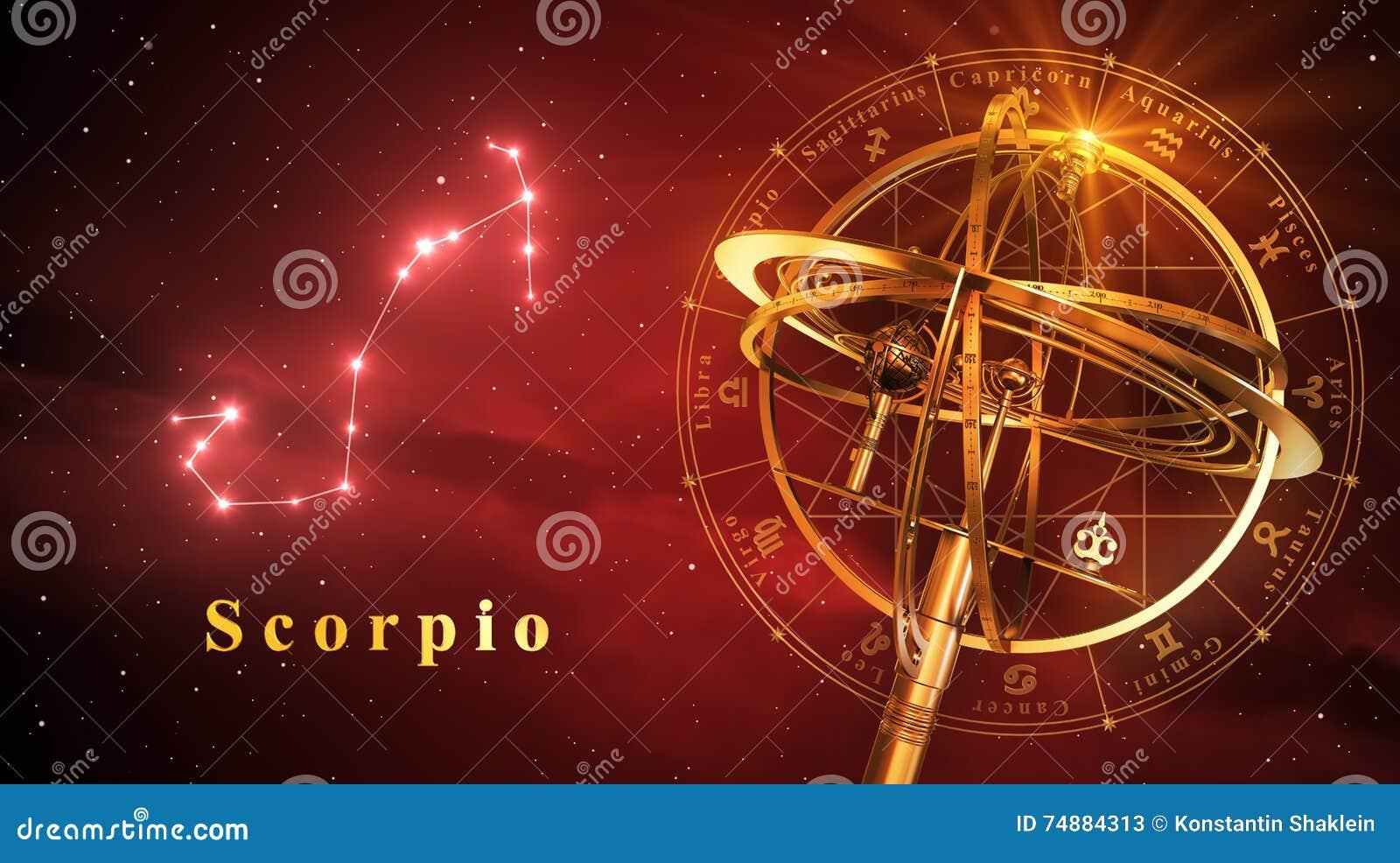 Escorpião da esfera Armillary e da constelação sobre o fundo vermelho