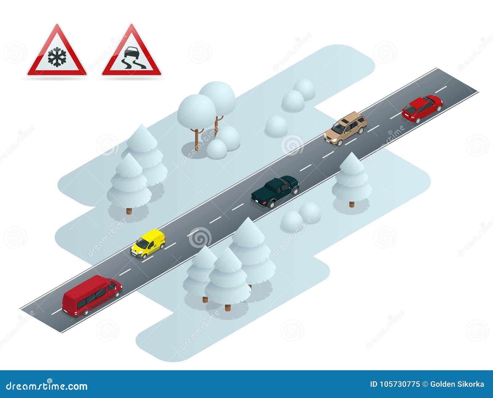 Escorregadiço, gelo, inverno, estrada da neve e carros Neve do cuidado Condução e segurança rodoviária do inverno Transporte urba