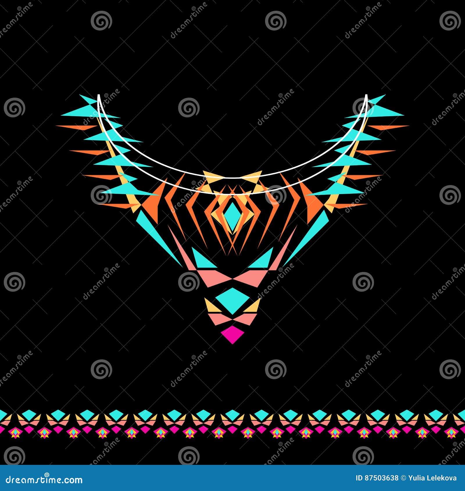 Escote del vector y diseño de las fronteras para la moda Impresión tribal étnica del cuello Adorno del pecho en estilo del boho