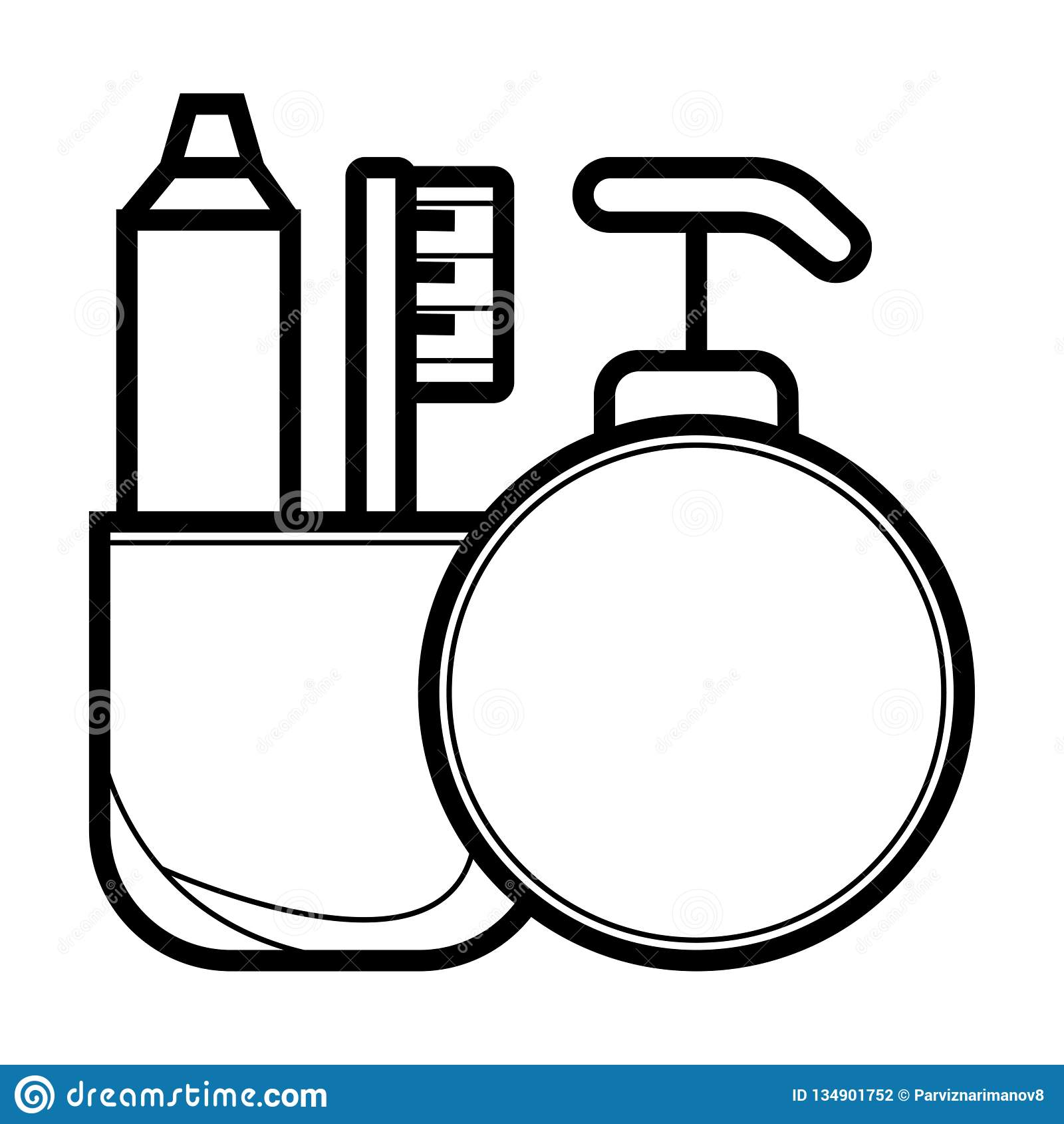 Escova de dentes e dentífrico do ícone do vetor