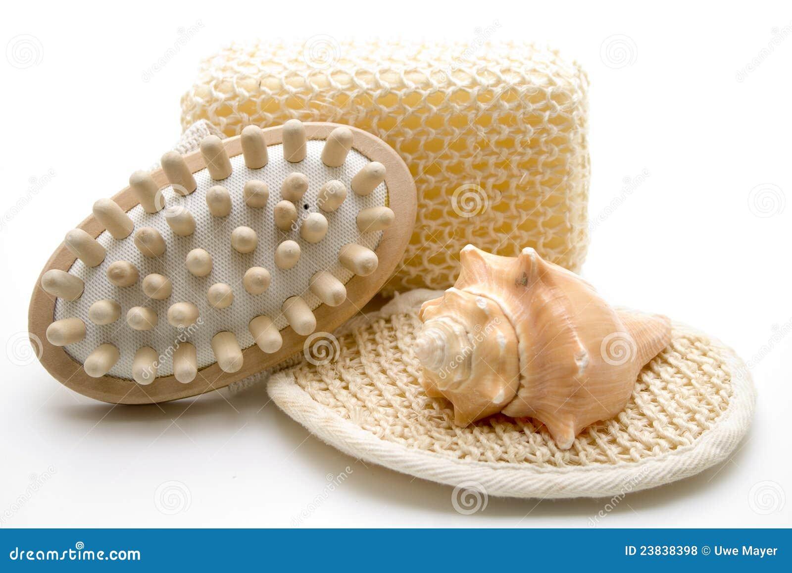 Escova e esponja da massagem